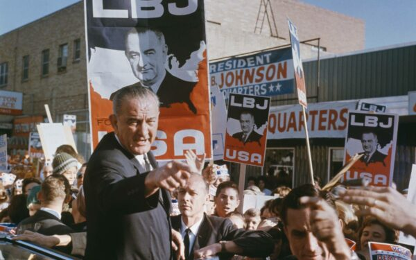 LBJ points to the camera on the campaign trail