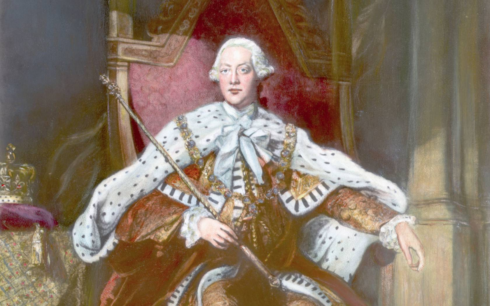 Painting of King George III of England, (1738-1820), seated on the throne in full regalia.