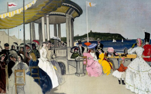 Bandstand by sea and people