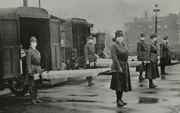 St. Louis Red Cross Motor Corps on duty during the American Influenza epidemic, 1918.