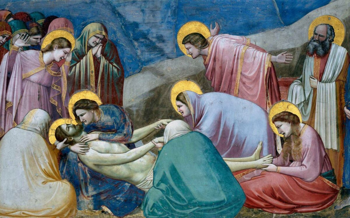 Lamentation for the Dead Christ. Fresco by the artist Giotto (1267-1337).