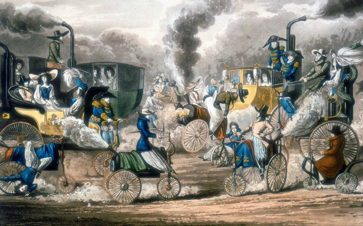 'The Progress of Steam. A View in Regent's Park, 1831', 1828. Steam-powered coaches, horses, tricycles, including one with body like a teapot, are speeding along or blowing up and causing traffic chaos in Regent's Park, London. Aquatint after Henry Alken (1774-1851).