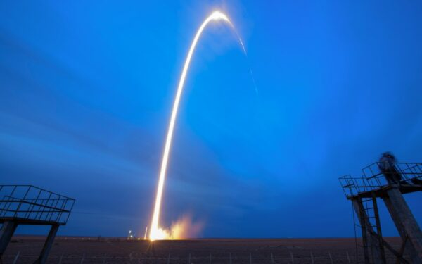 Spacecraft launches in Russia leaving trail of light in the sky