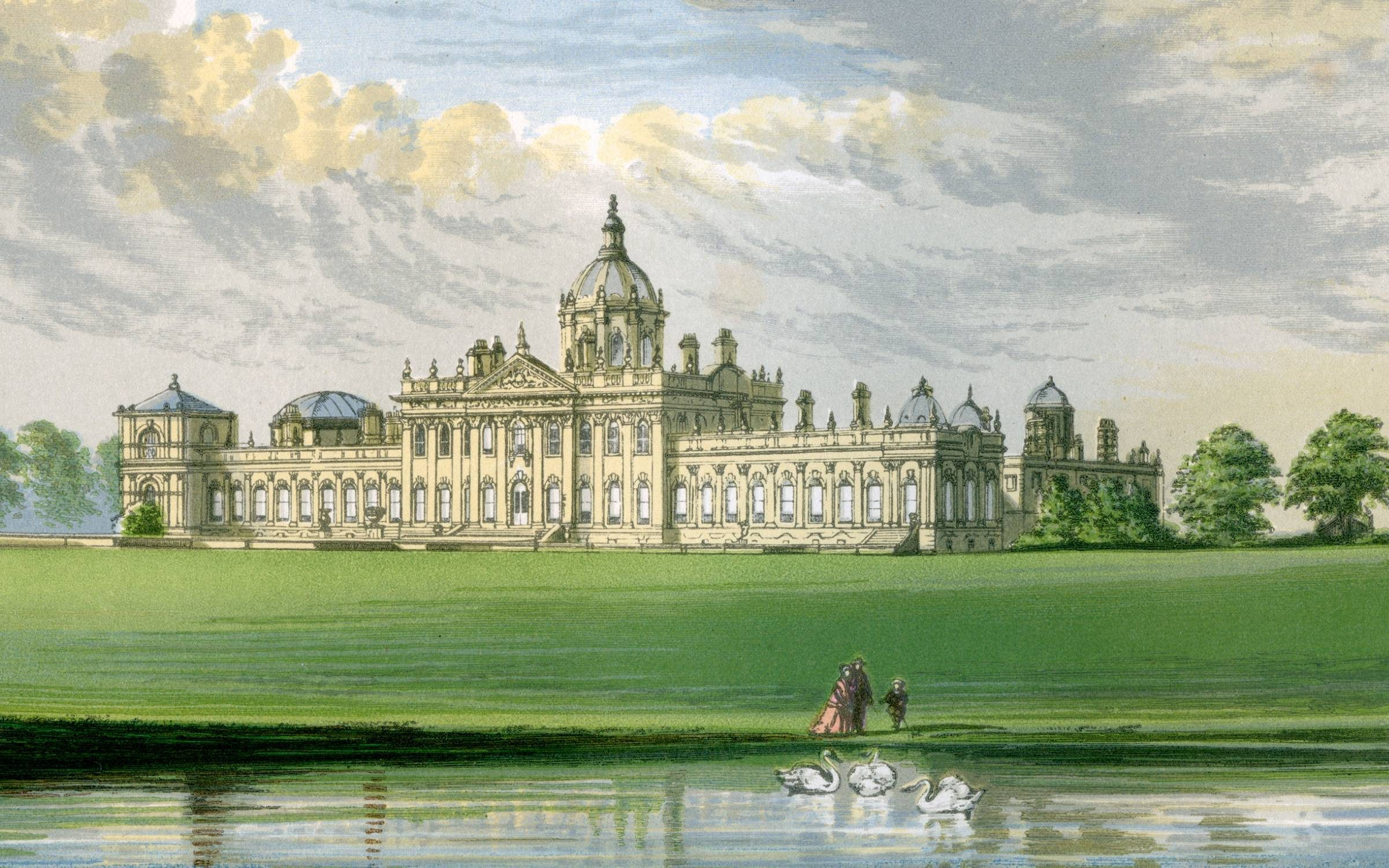 Castle Howard, Yorkshire, home of the Earl of Carlisle, c1880. Castle Howard was built between 1699 and 1712 to designs by John Vanbrugh. A print from A Series of Picturesque Views of Seats of the Noblemen and Gentlemen of Great Britain and Ireland, edited by Reverend FO Morris, Volume I, William Mackenzie, London, c1880. Wood-engraved plates after paintings by Benjamin Fawcett and Alexander Francis Lydon. (Photo by The Print Collector/Print Collector/Getty Images)