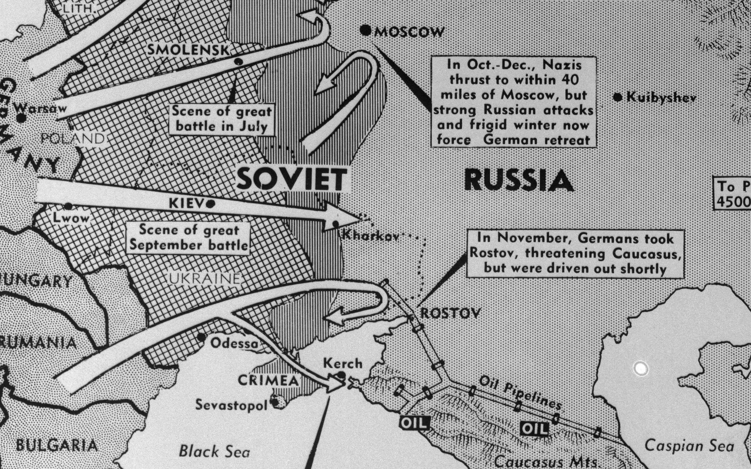 This map of Russia and surrounding countries highlights Hitler's campaign in Russia and how it went wrong. Credit: Bettmann