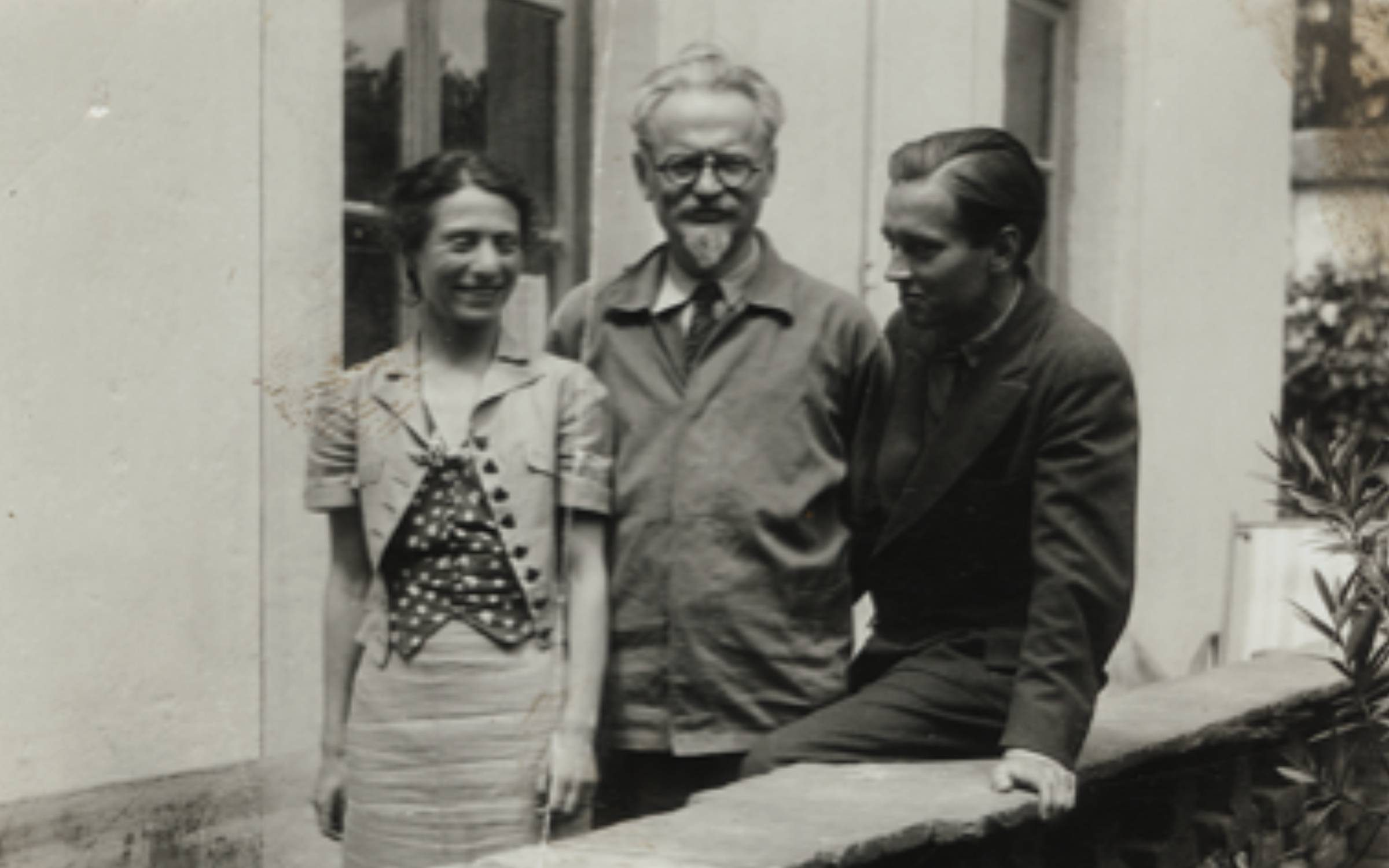 From left to right: Dorothy McDonald (wife of John, née Eisner), Leon Trotsky and John McDonald in Coyoacan, Mexico, in the 1930s. McDonald was recruited to help defend Trotsky from charges made at Stalin's show trials. Credit: General Collection, Beinecke Rare Book & Manuscript Library, Yale University