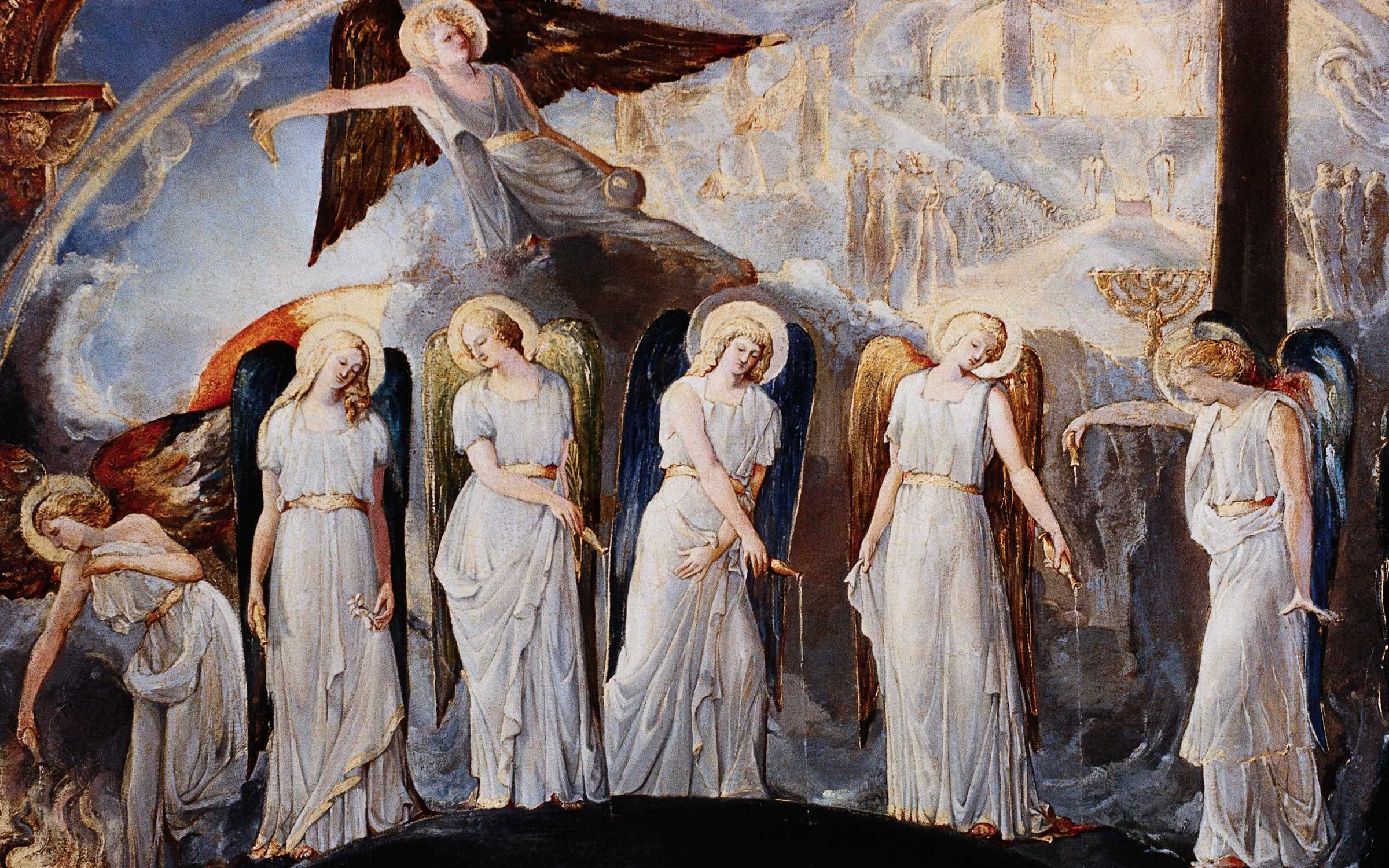 Seven Angels Pouring Vials of the Wrath of God upon the Earth. By a British School Painter influenced by William Blake. Credit: Burstein Collection/Corbis/VCG via Getty Images