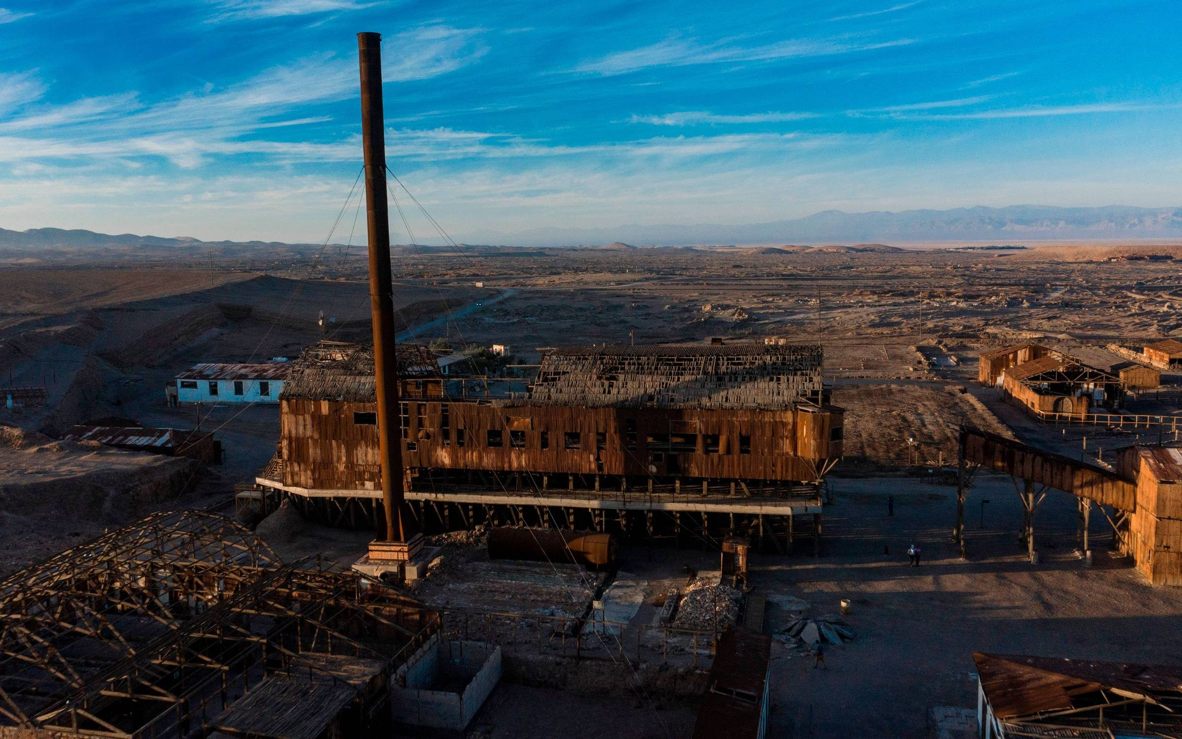 Aerial view of the ex-saltpetre site at Humberstone, near Pozo Almonte in the Tarapaca Region, some 800 km north of Santiago. Credit: MARTIN BERNETTI/AFP via Getty Images