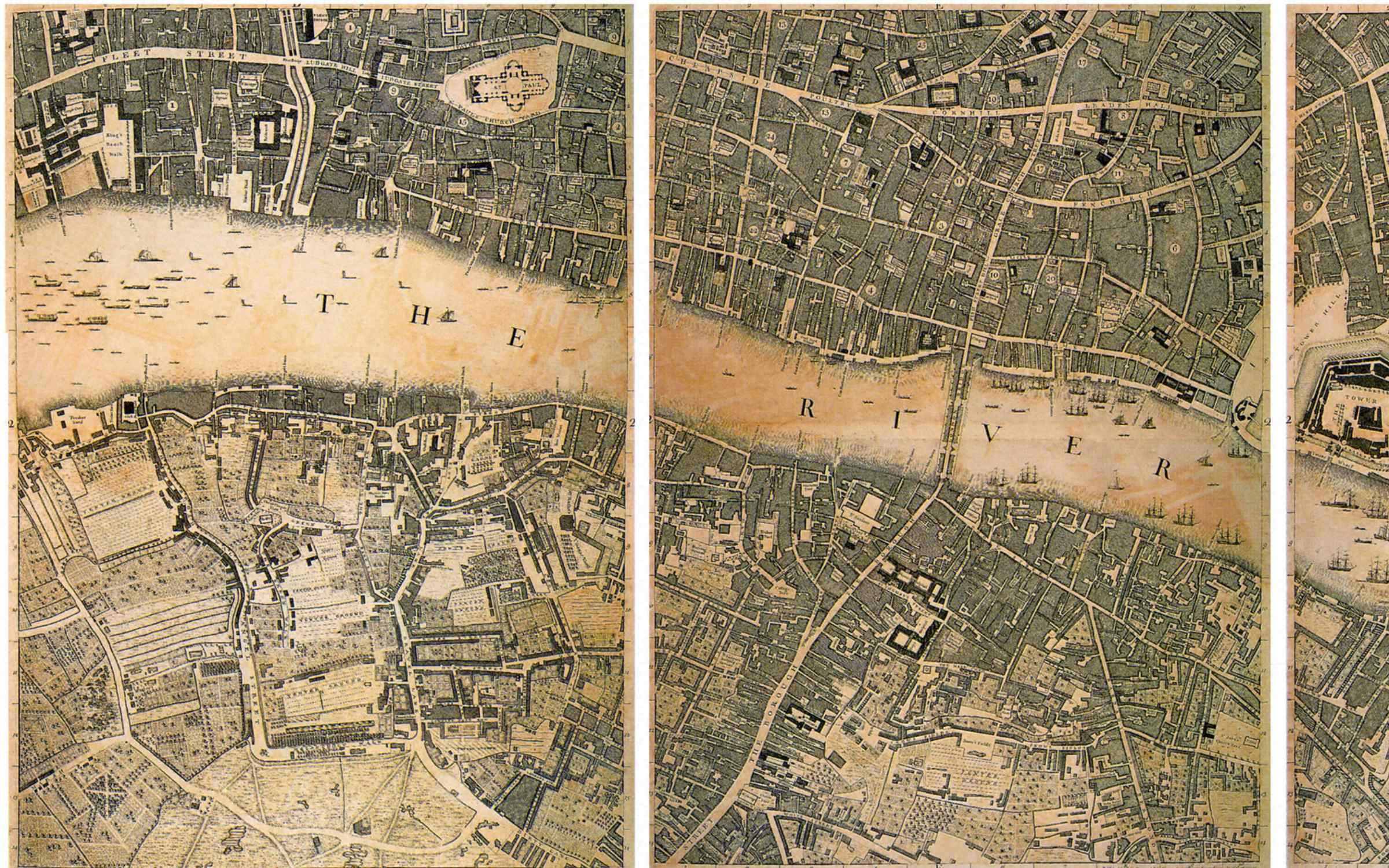 A 1746 map of London showing the street contours. Credit: Picturenow/Universal Images Group via Getty Images.