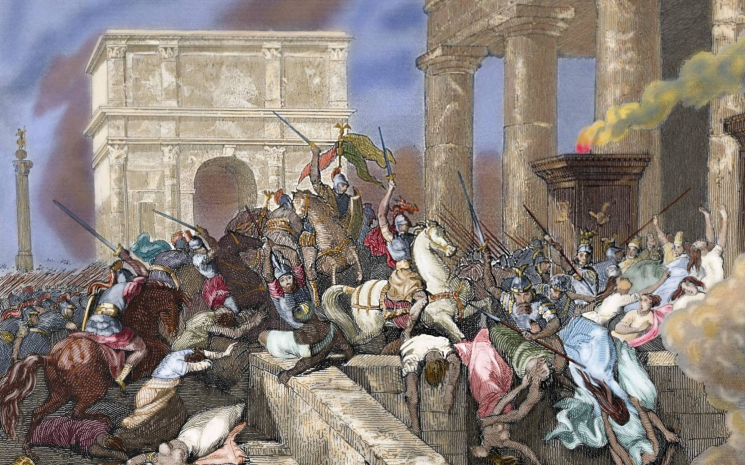 Engraving of the Sack of Rome by the Visigoths led by Alaric I in 410, during the reign of Emperor Honorius.