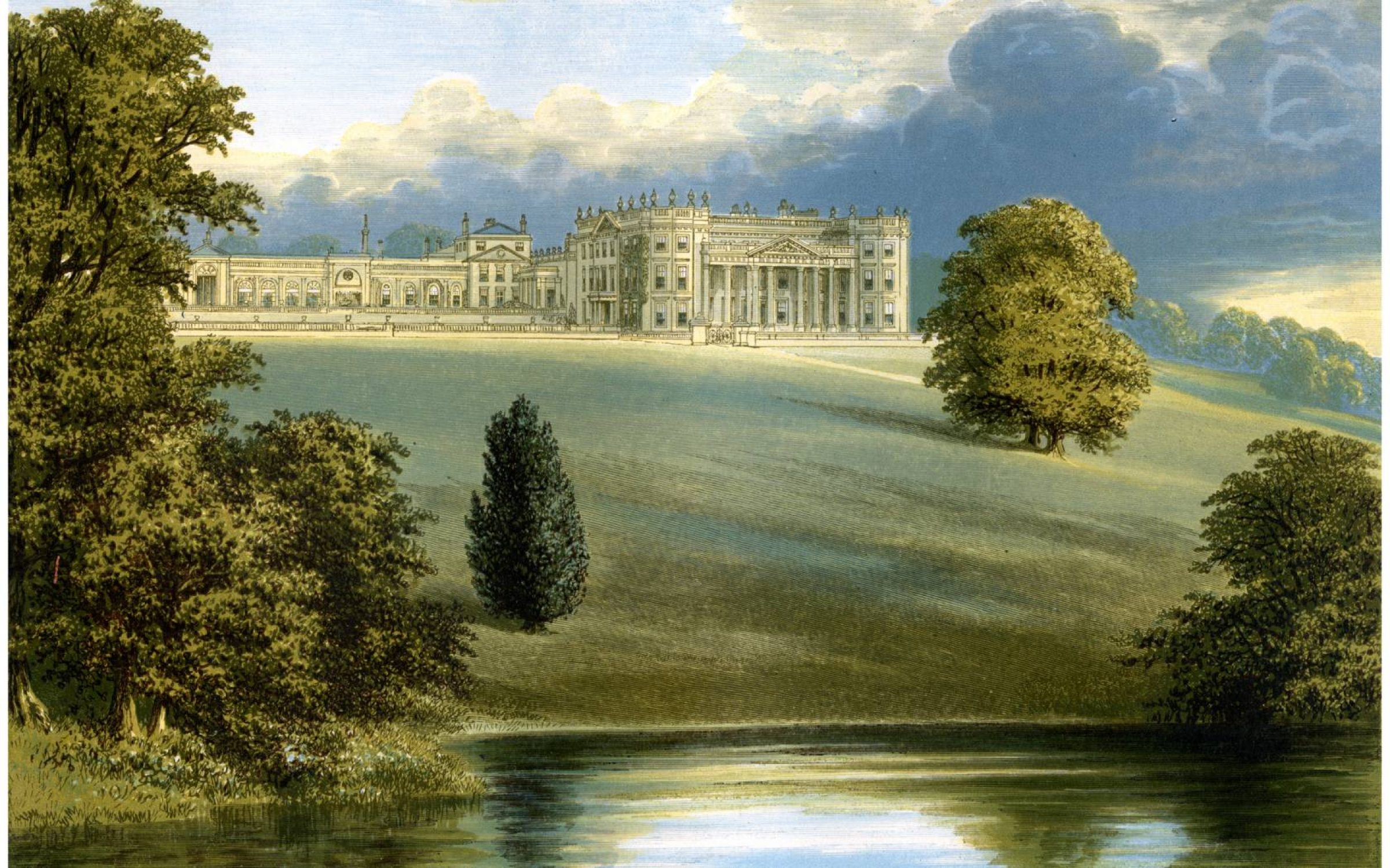 Bowood Park, Wiltshire, home of the Marquess of Lansdowne, c1880. Wood-engraved plates after paintings by Benjamin Fawcett and Alexander Francis Lydon. Credit: The Print Collector/Print Collector/Getty Images