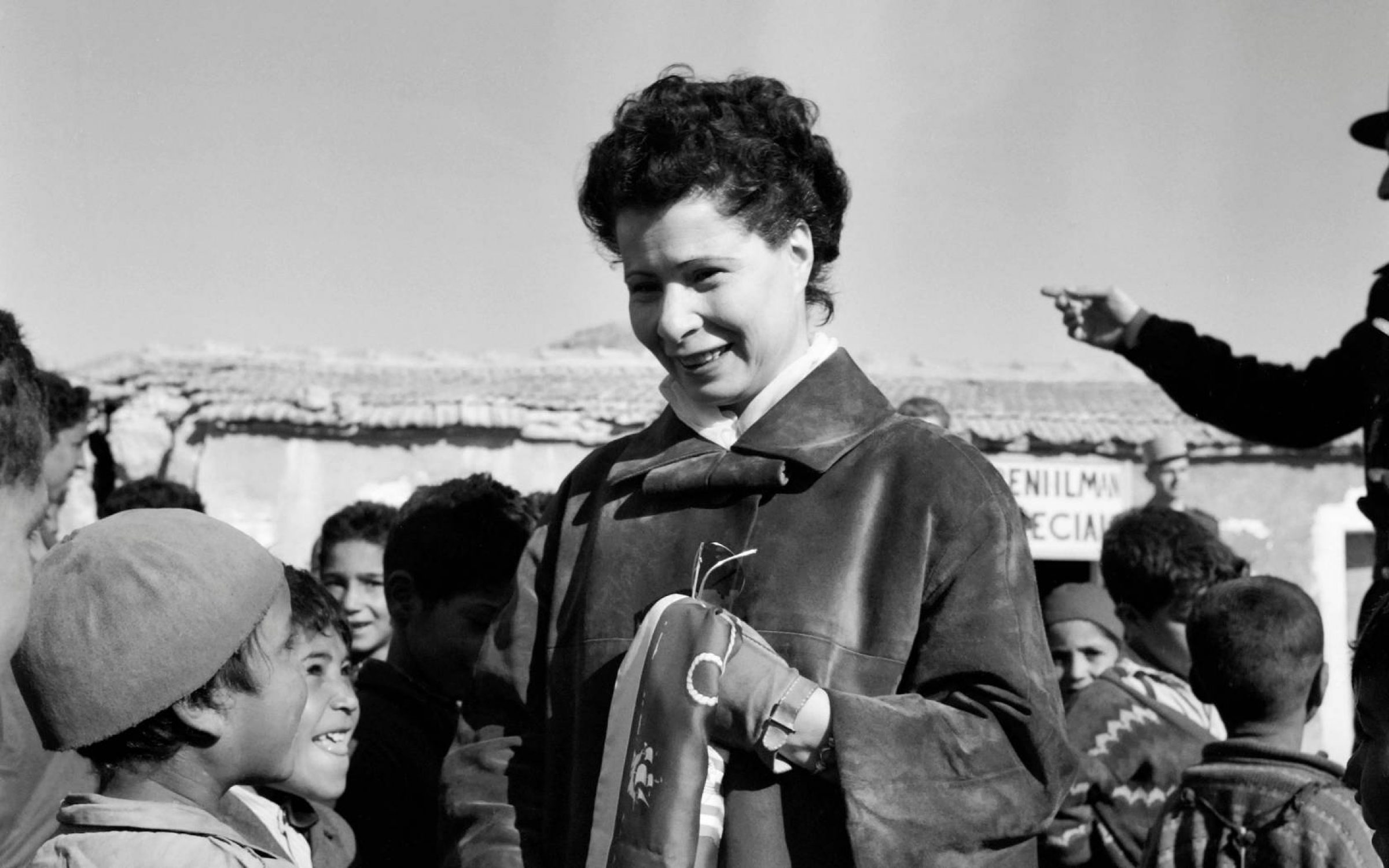 Nafissa Sid Cara talks with children in Algeria in the 1960s. Credit: AFP via Getty Images