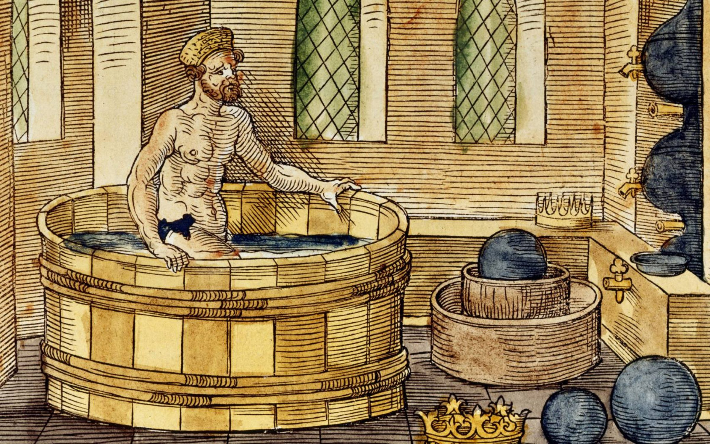 Archimedes in his bath. Hand-coloured woodcut, 1547. Credit: Universal History Archive/Getty Images
