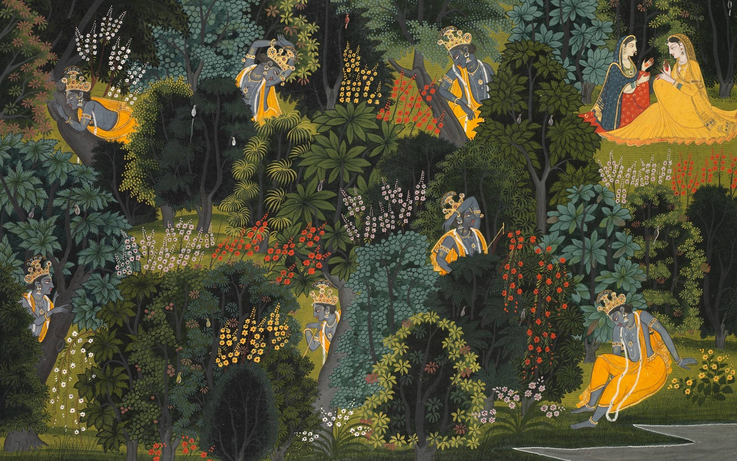 Krishna's Longing for Radha, from the Gita Govinda of Jayadeva, circa 1820-1825. In the lush forests on the banks of India?s Yamuna River, the youthful god Krishna waits to rendezvous with his beloved Radha. The artist has rendered his impatience by showing seven Krishnas, in various attitudes of anxious waiting, as though seeing him over a period of time. Meanwhile Radha, dressed in yellow at top right, confers seemingly endlessly with her confidante, as she tries to decide whether she should meet Krishna for the illicit tryst?she is already married and Krishna is prone to flirting with other girls. This scene is a metaphor for how god waits for us to come to him, while the human devotee frets about the bonds of social norms. Creator Unknown. (Photo by Heritage Arts/Heritage Images via Getty Images)