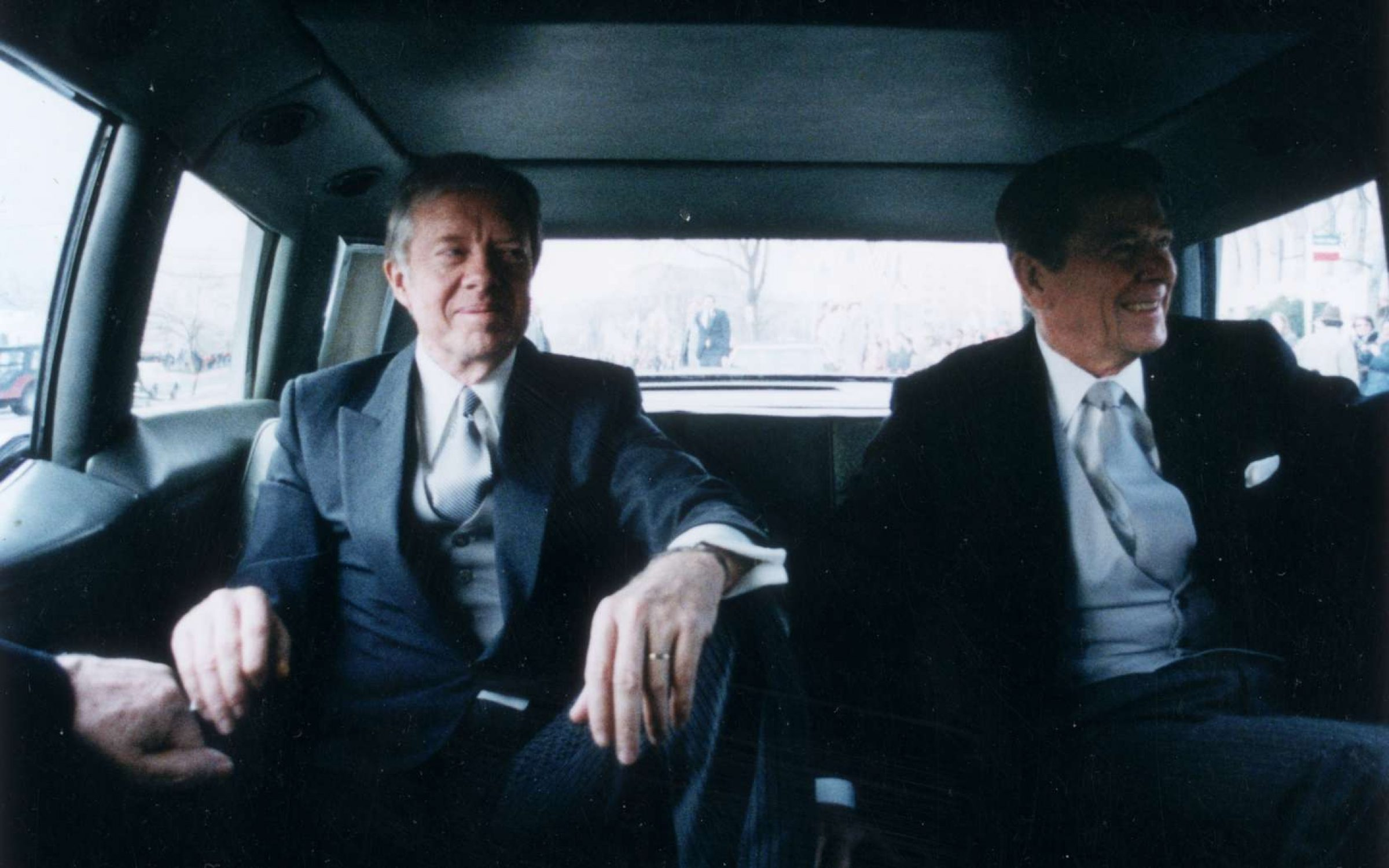 Outgoing US President Jimmy Carter and president-elect Ronald Reagan en route to Reagan's Presidential Inauguration Ceremony, January 1981 Credit: Ronald Reagan Library / Getty Images