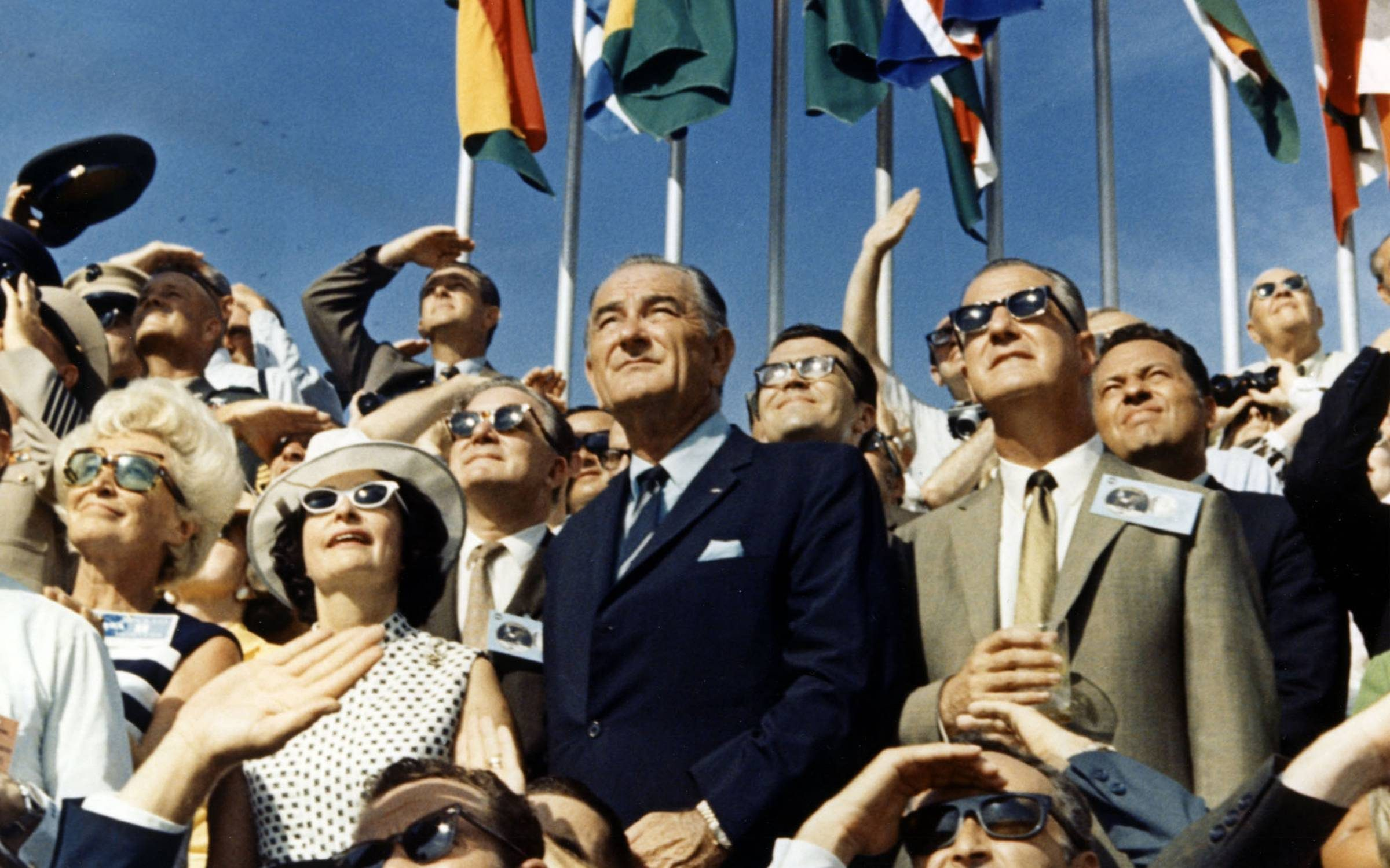 30Th Anniversary Of Apollo 11 Landing On The Moon (4 Of 20): Vice President Spiro Agnew And Former President Lyndon Johnson View The Liftoff Of Apollo 11 From The Stands Located At The Kennedy Space Center Vip Viewing Site. The Apollo 11 Saturn V Space Vehicle Lifted Off On July 16, 1969 And Was Injected Into Lunar Orbit On July 19 With Astronauts Neil A. Armstrong, Michael Collins And Edwin E. Aldrin Jr., At 9:32 A.M. Edt July 16, 1969, From Kennedy Space Center's Launch Complex In Florida. The Lm (Lunar Module) Landed On The Moon On July 20, 1969 And Returned To The Command Module On July 21. The Command Module Left Lunar Orbit On July 22 And Returned To Earth On July 24, 1969. Apollo 11 Splashed Down In The Pacific Ocean On 24 July 1969 At 12:50:35 P.M. Edt After A Mission Elapsed Time Of 195 Hrs, 18 Mins, 35 Secs. (Photo By Nasa/Getty Images)