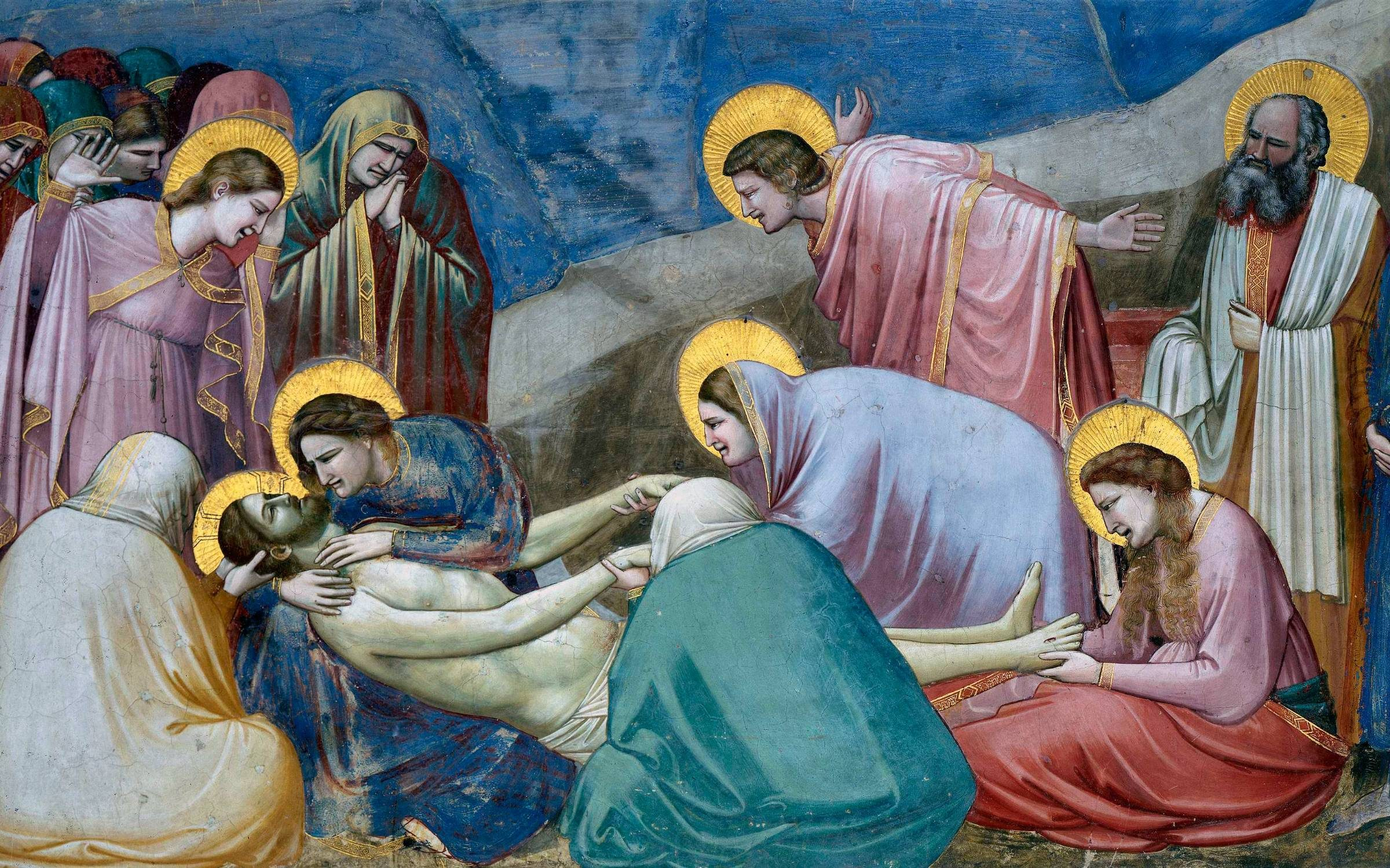 Lamentation for the Dead Christ, a fresco by Giotto (1267-1337).