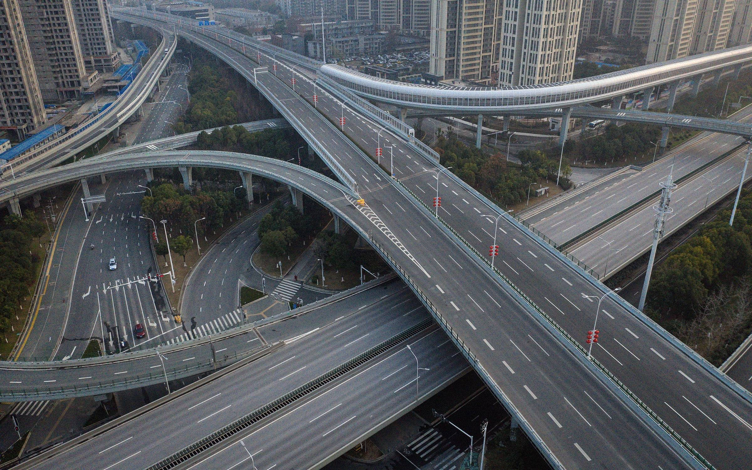 An inner-city highway in Wuhan, China. Credit: Getty Images.