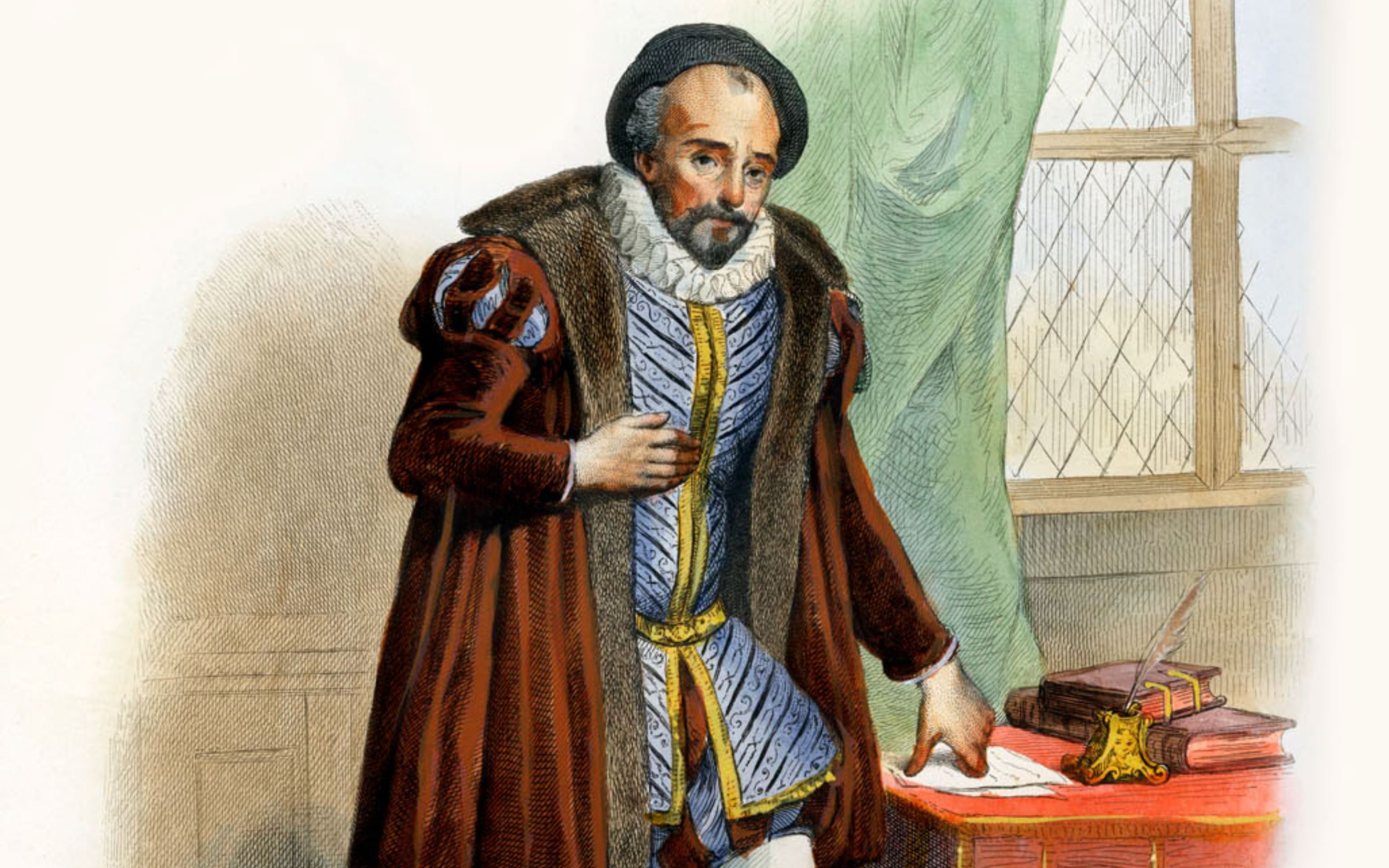 Michel de Montaigne. Influential writer of the French Renaissance; popularised the essay as a literary genre. Considered as the father of Modern Skepticism. 1533- 1592. Engraving by Langlois. (Photo by Culture Club/Getty Images) *** Local Caption ***