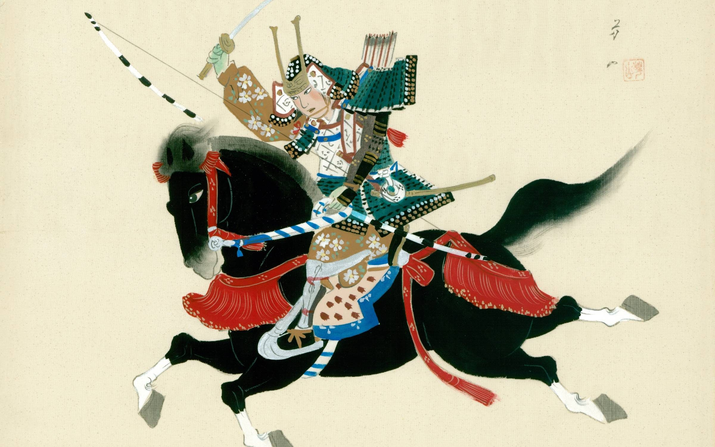 Samurai Warrior riding a horse. A Japanese painting on silk, in a traditional Japanese style. (Photo by The Print Collector/Print Collector/Getty Images)
