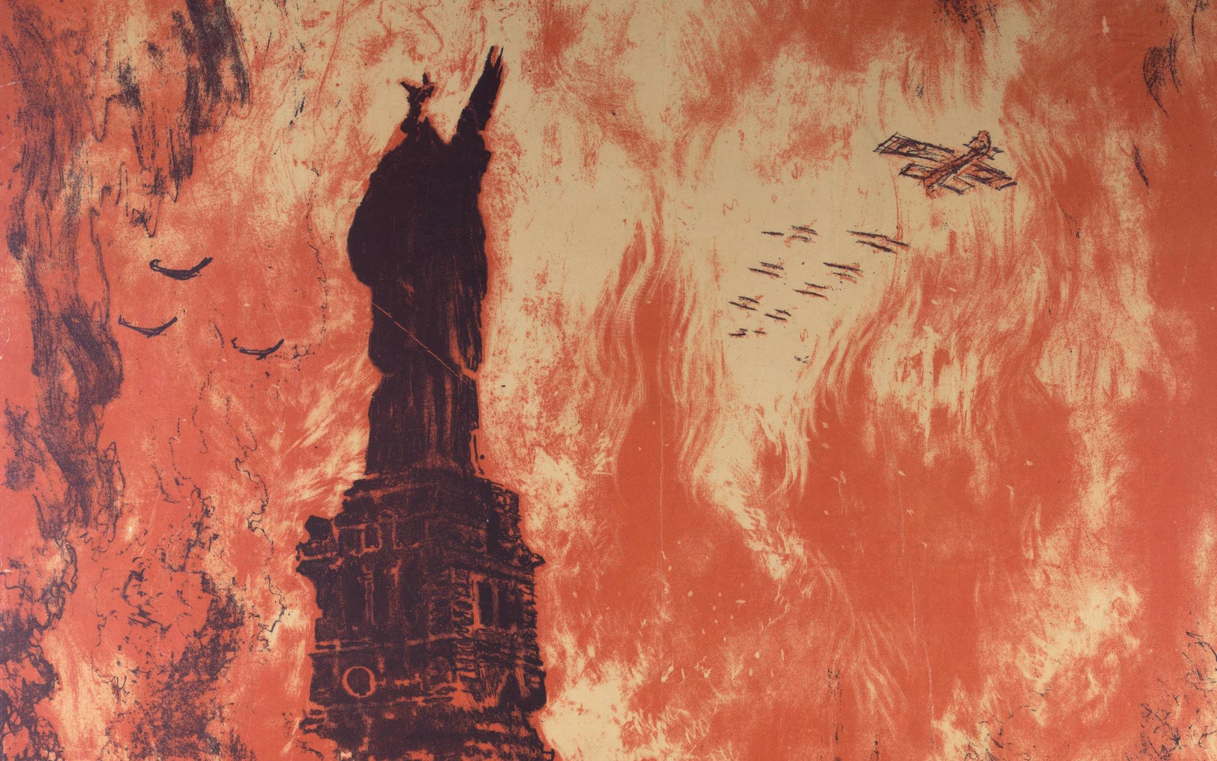 Poster showing the Statue of Liberty in ruins, and the New York skyline in flames. Published by Ketterlinus, Philadelphia. Color lithograph, 1918, 104×75 cm. Credit: VCG Wilson/Corbis via Getty Images