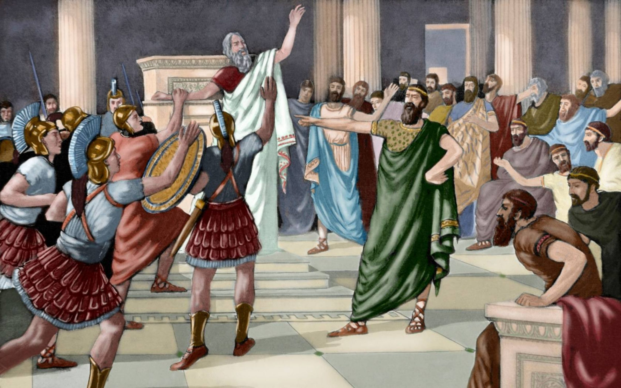 Print of arguments in fifth century Athens. Credit: PHAS/Universal Images Group via Getty Images)