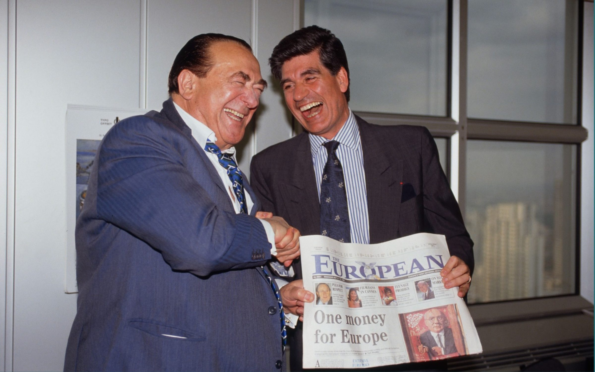 Robert Maxwell, left, celebrating the first edition of 'The European' in 1990 with Maurice Levy of Publicis. Credit: Michel Turpin / Sygma via Getty Images.