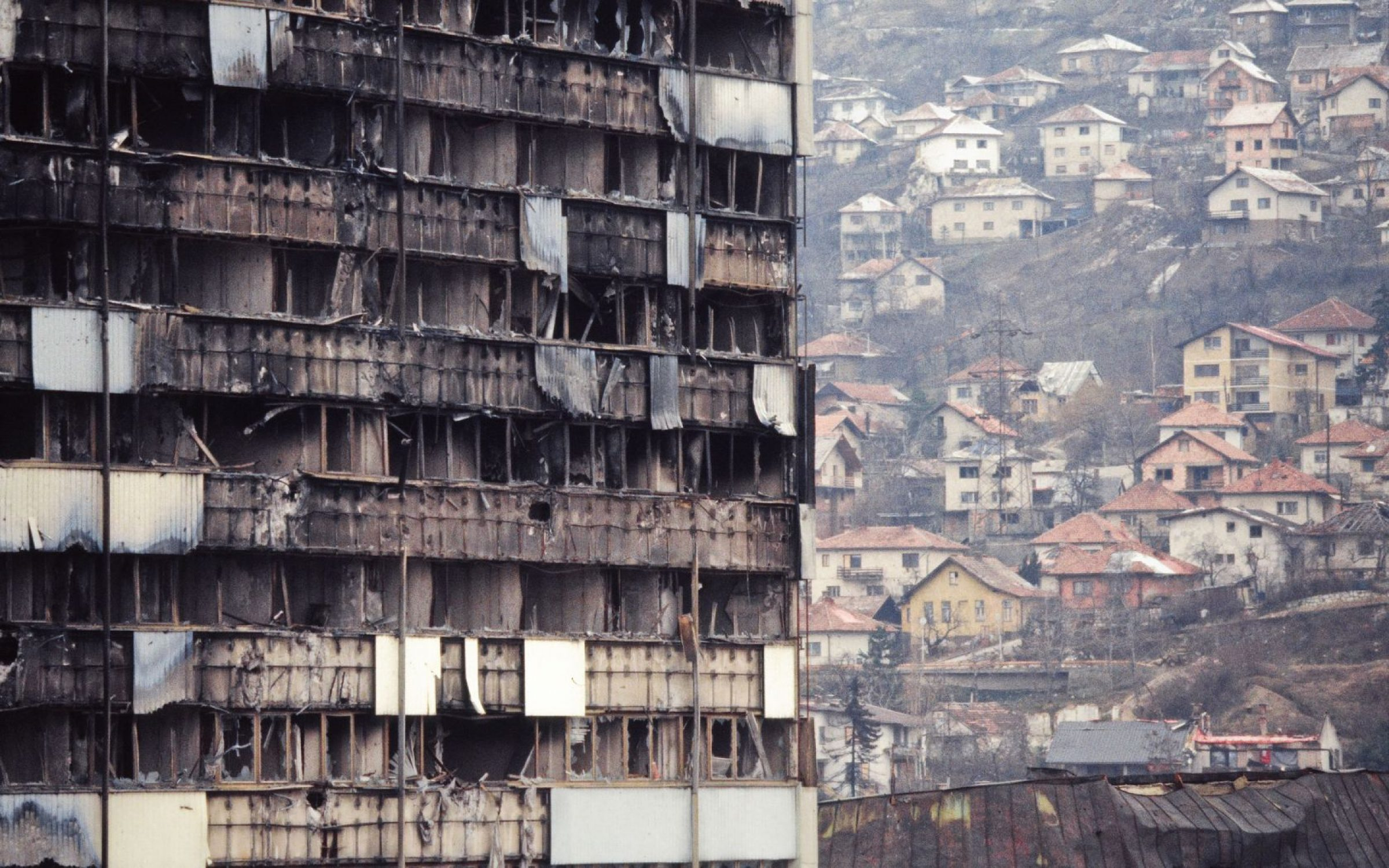 A burned-out building during the Seige of Sarajevo, 1994. Credit: Andia/Universal Images Group via Getty Images.