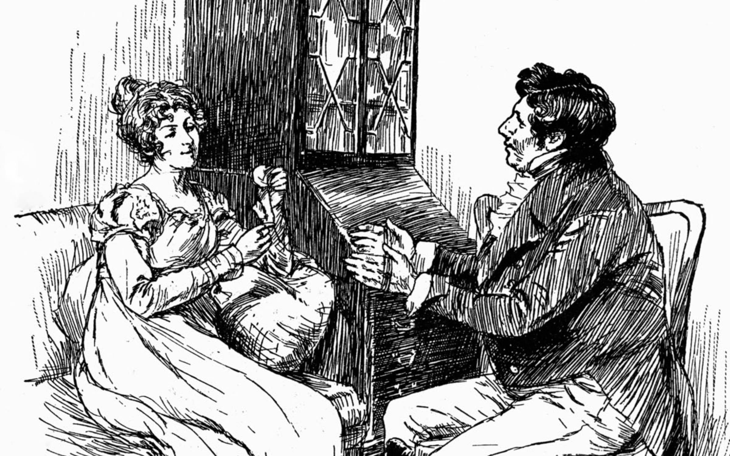 Becky Sharp and Joseph Sedley - characters in 'Vanity Fair',by William Makepeace Thackeray. Drawing by Chris Hammond. Caption reads: 'Bound in a web of green silk'. WMT: English novelist, 18 July 1811 - 24 December 1863. (Photo by Culture Club/Getty Images)