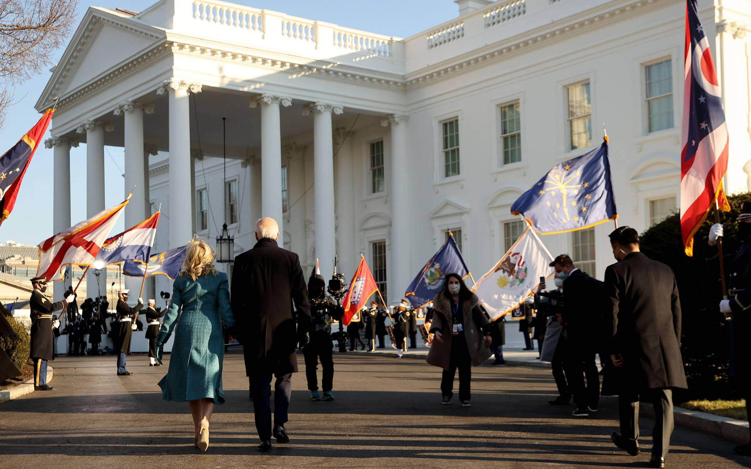 Arriving at the White House on inauguration day. Credit: Getty Images.
