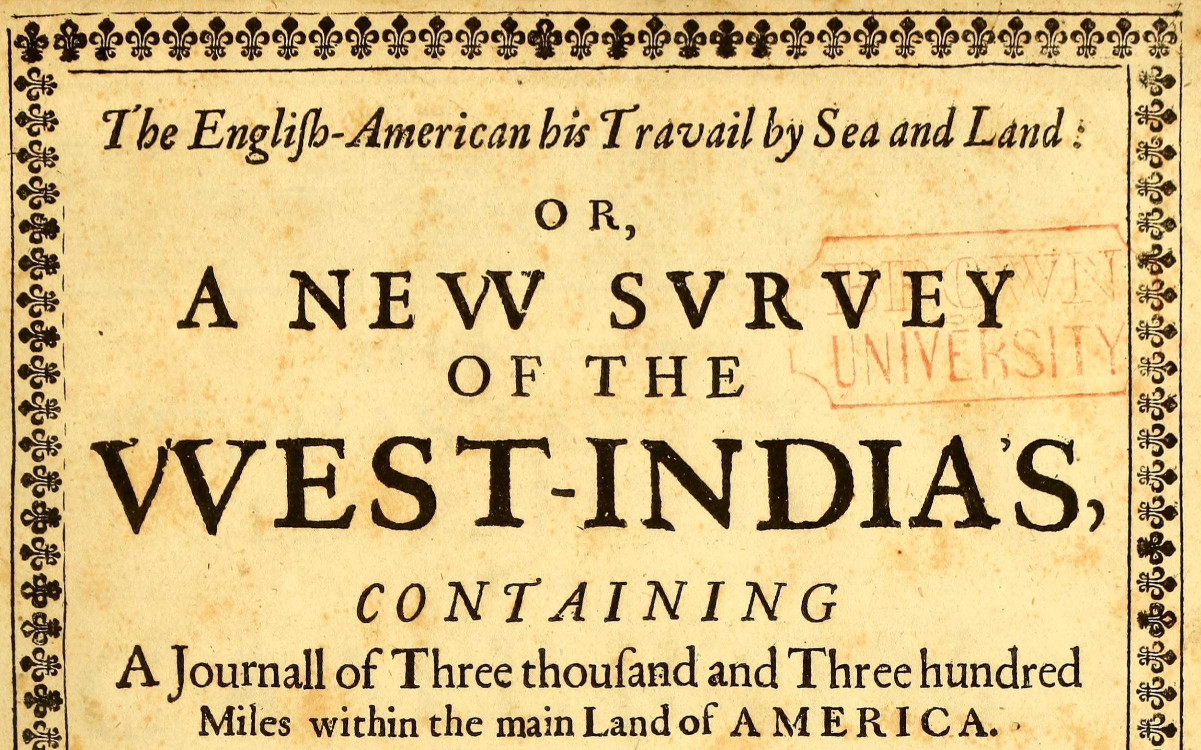 Title Page from Thomas Gage's The English-American his travail by sea and land: or, A new survey of the West-India's (London 1648)  Wiki creative commons