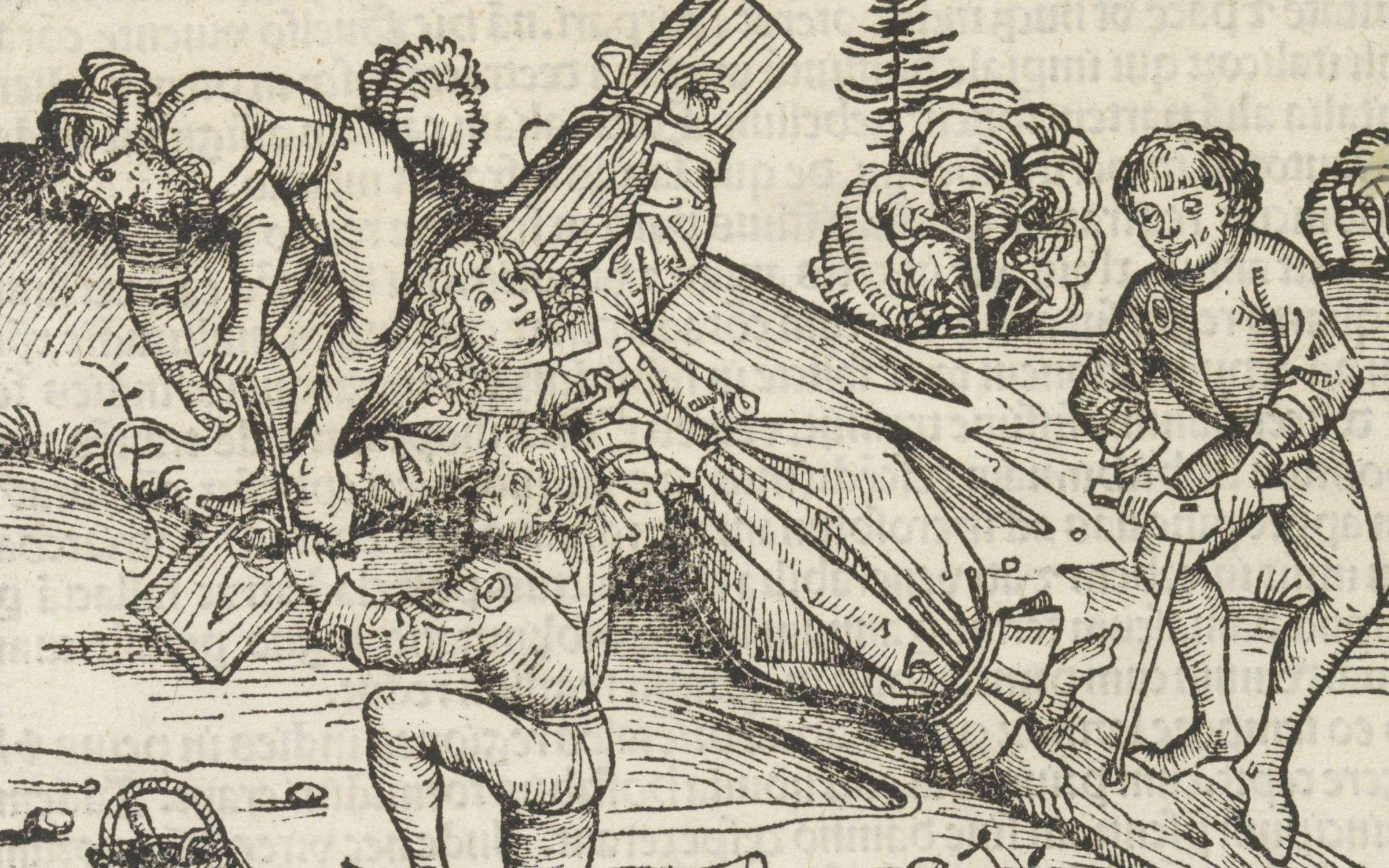 A 15th century woodcut made in Nuremberg of the crucifixion of William of Norwich. Credit: Rijksmuseum, CC0, via Wikimedia Commons
