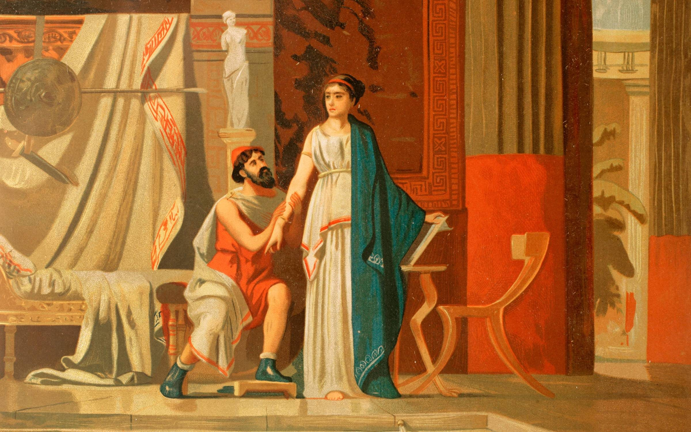 Aspasia of Miletus (c. 470-400 BC). with her lover Pericles. Chromolithograph from 1881. Credit: Universal History Archive/ Universal Images Group via Getty Images