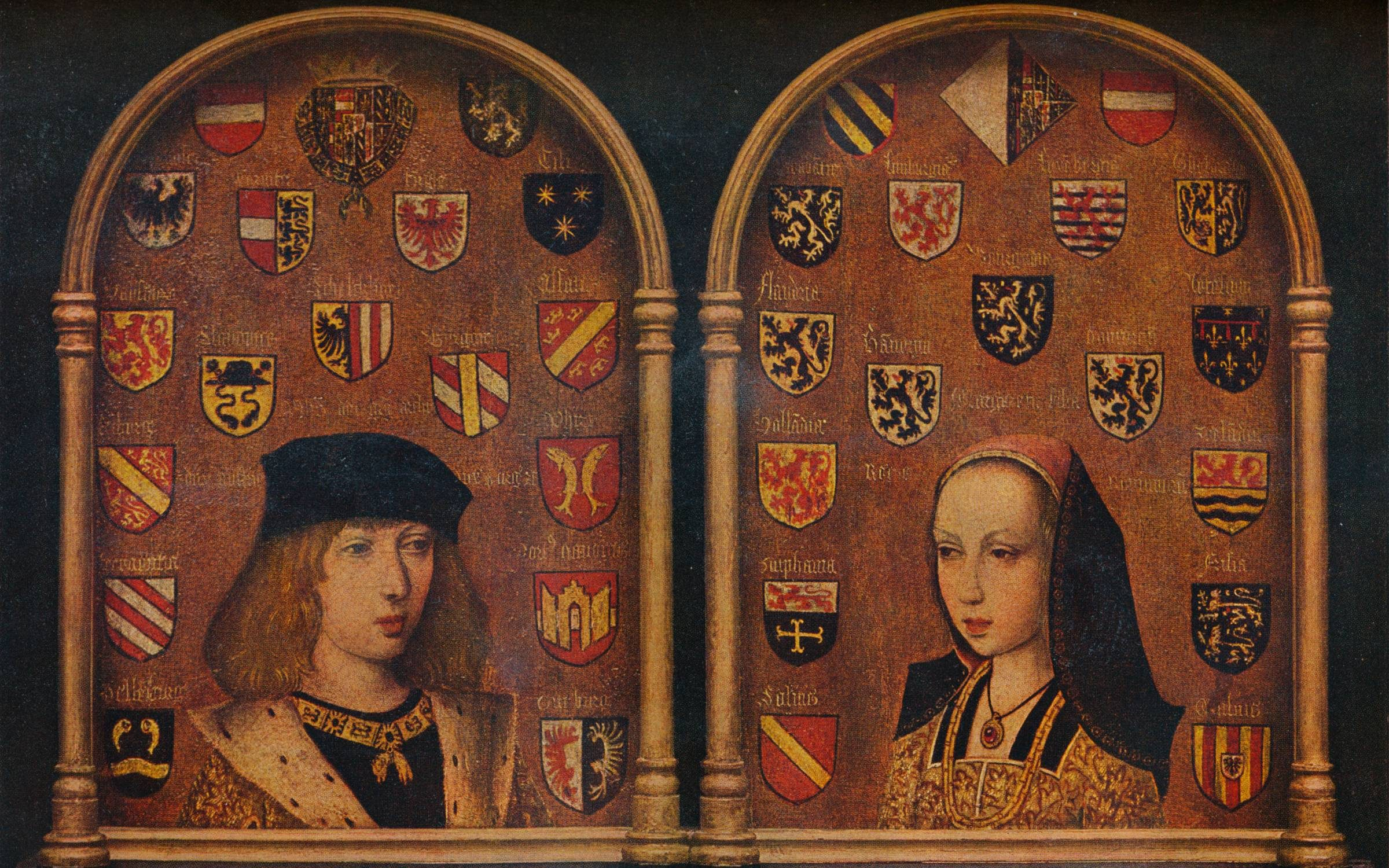 'Diptych: Philip the Handsome and Margaret of Austria', c1493. Philip the Handsome (1478-1506) became Philip I of Castile. Margaret of Austria (1480-1530) became Regent of the Netherlands. Painting housed at The National Gallery, London. From The Connoisseur Volume LXXXVIII, edited by C. Reginald Grundy. [The Connoisseur Ltd, London, 1931] (Photo by The Print Collector/Getty Images)