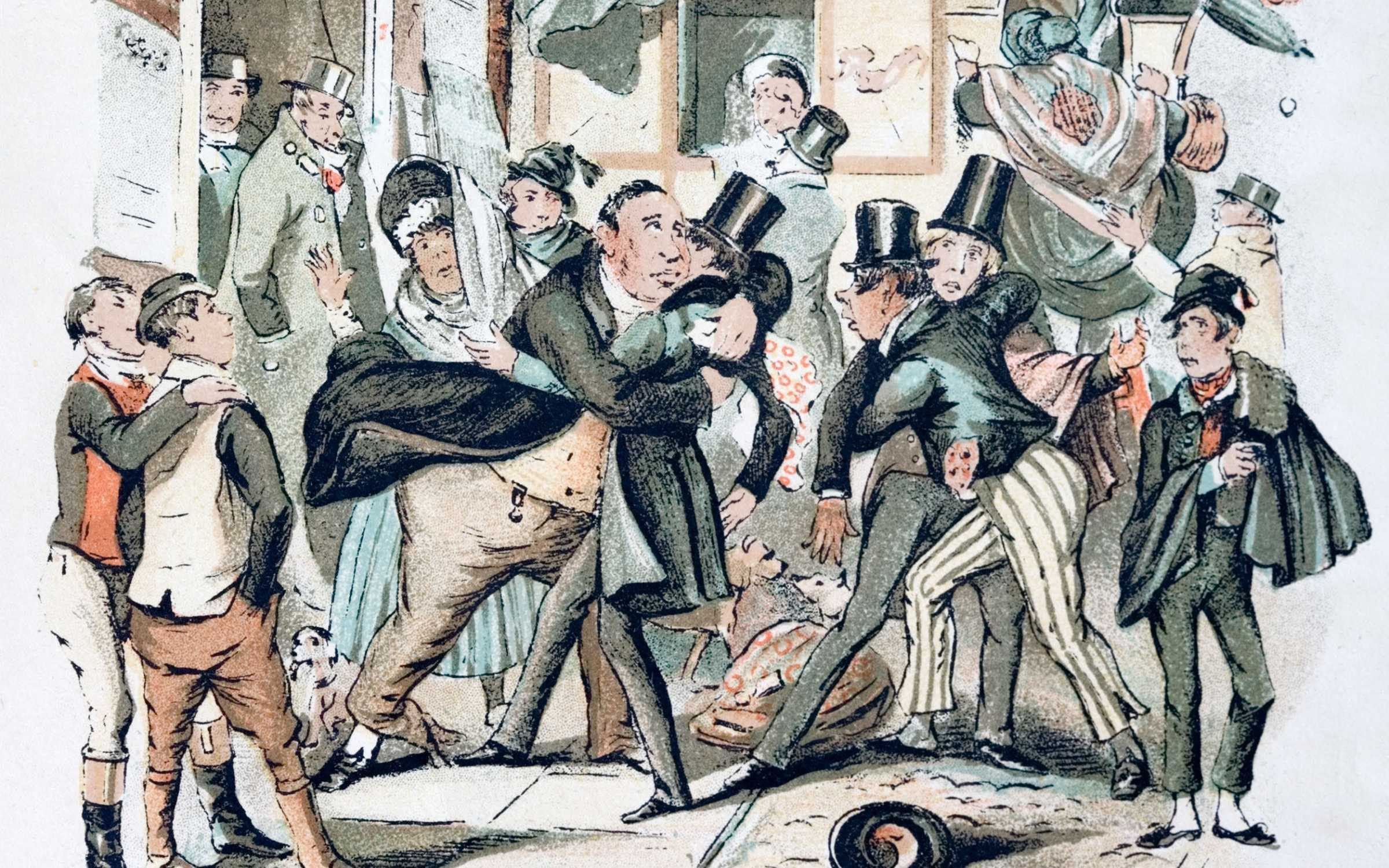 Civil disorder arising from animosity between university undergraduates and towns people (town v gown) as described in a Charles Dickens novel. Credit: Michael Nicholson/Corbis via Getty Images