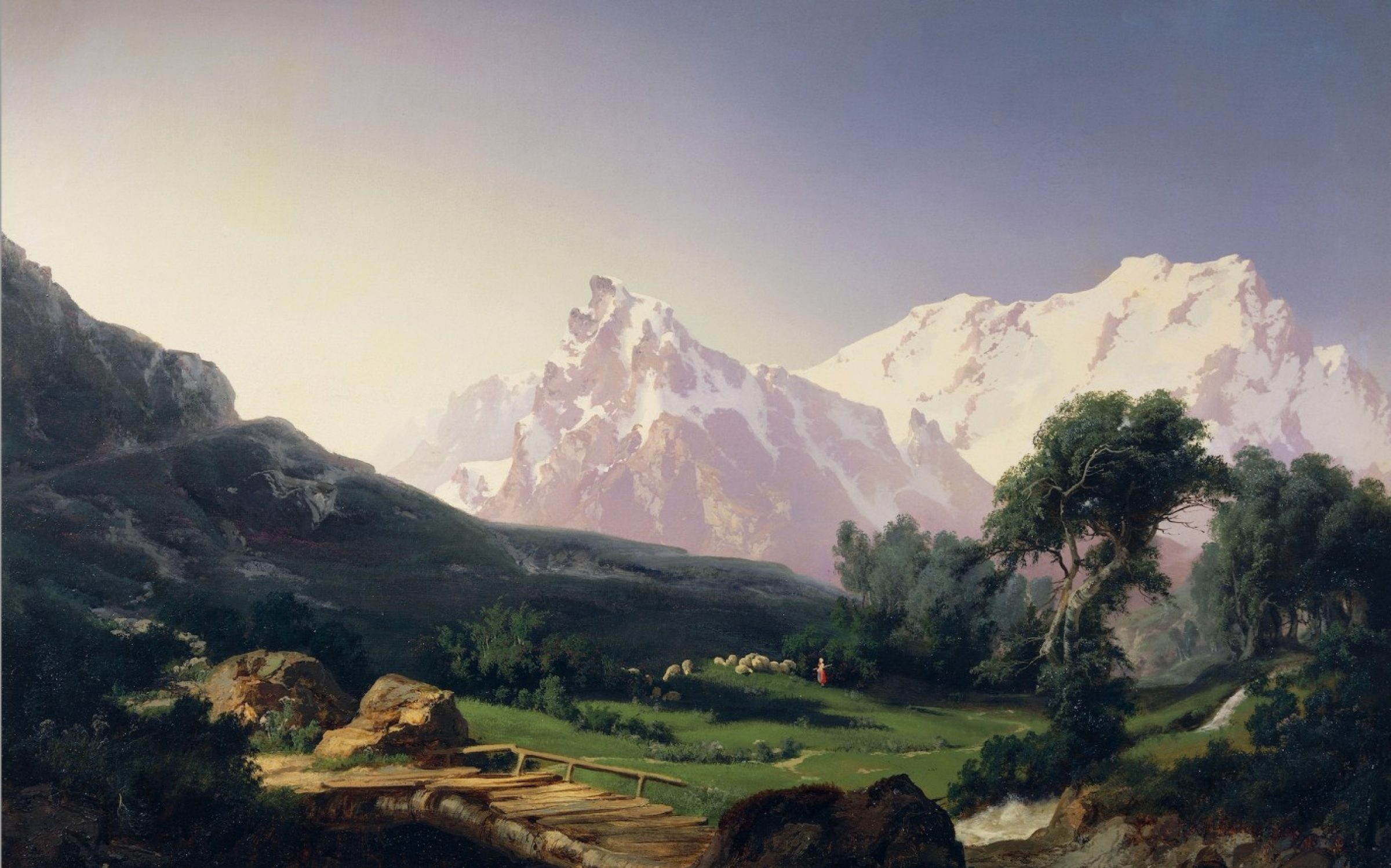 An Arcadian painting of the Alpine peaks by Giuseppe Camino (1818-1890). Credit: DeAgostini / Getty Images.