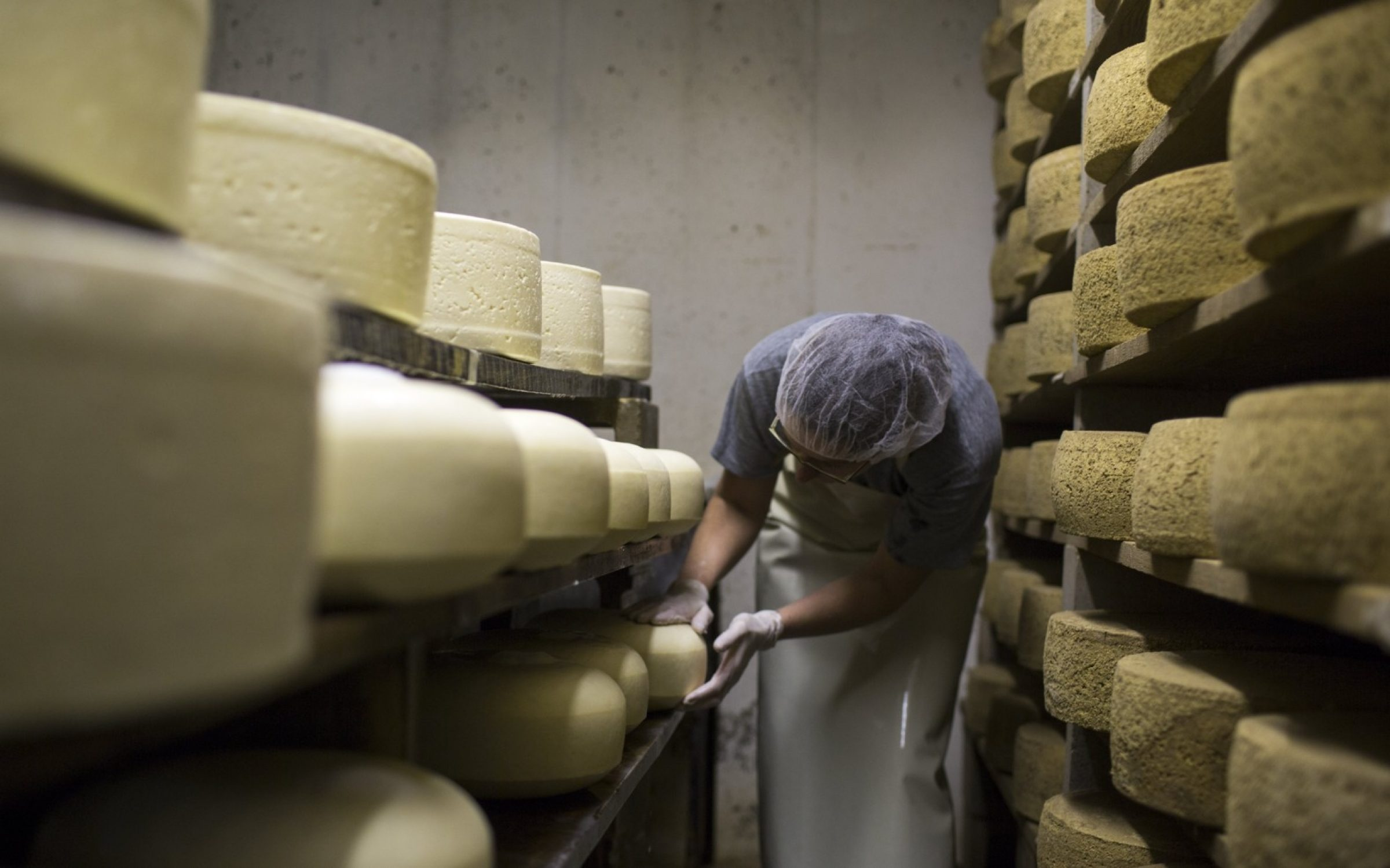 Cheese maker Becky Smith salts the rind of newly made wheels of cheese at Cato Corner Farm, Connecticut. Credit: Robert Nickelsberg / Getty Images.