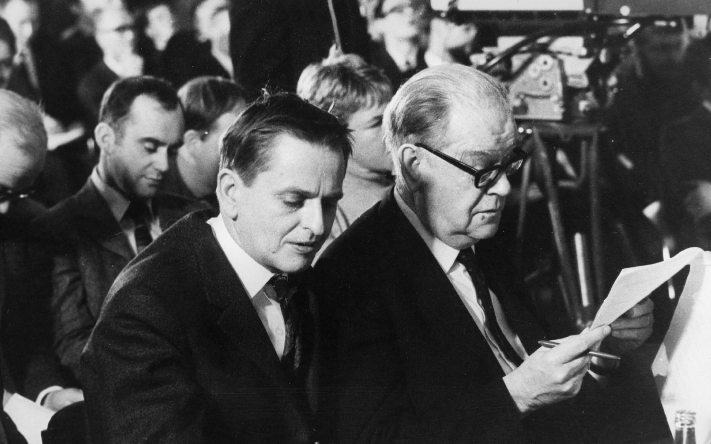 Olof Palme (l) and Tage Erlander (r), two Prime Ministers of the social democratic era in Sweden. Credit: Getty Images.