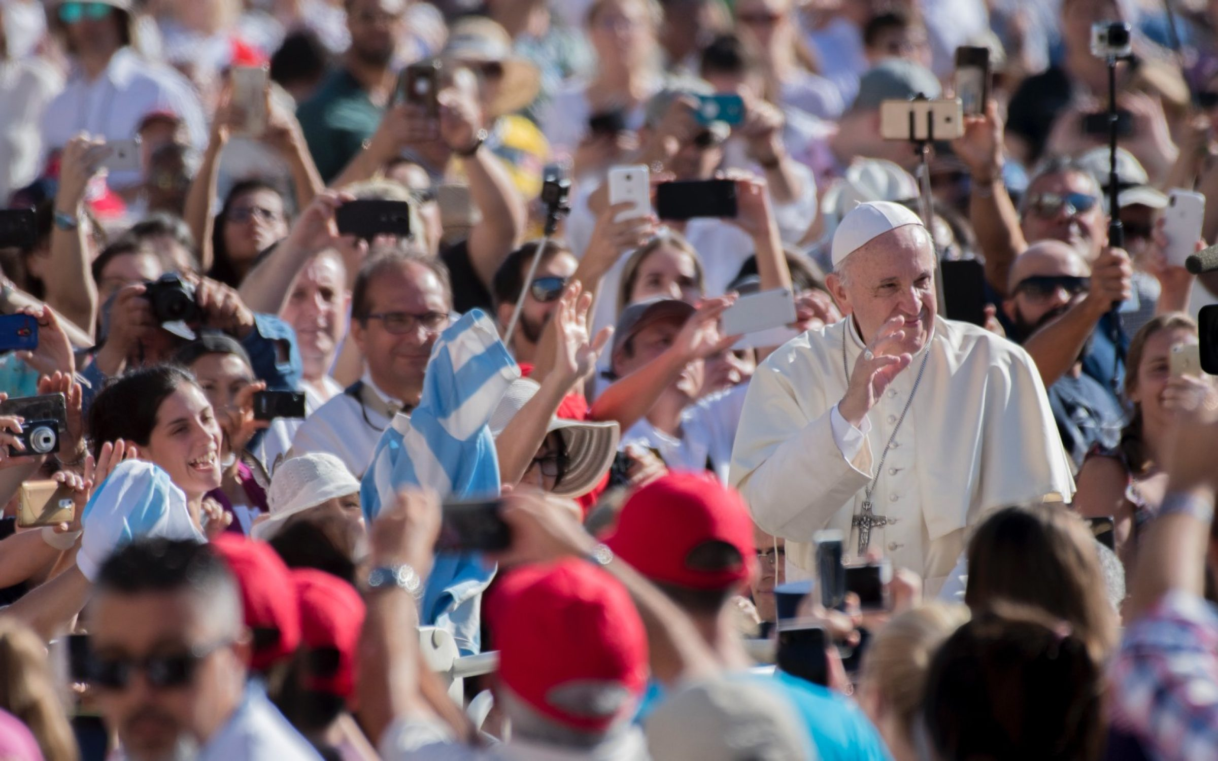 Pope Francis with his weekly audience in St. Peter's Square, Vatican City, in 2018. Credit: Massimo Wallichia / Getty Images.