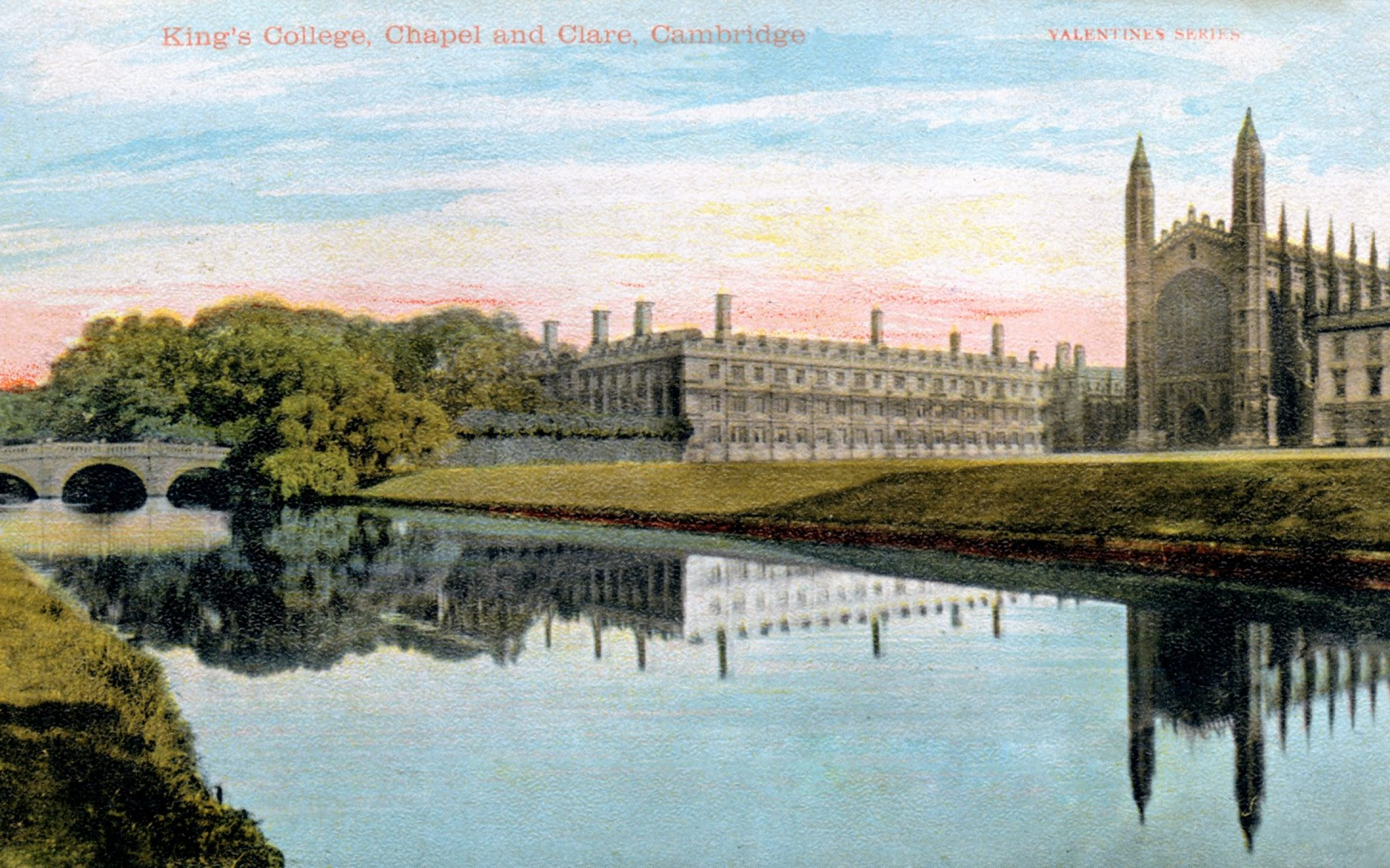 An illustration of King's College banks from the Valentines postcard series. Credit: The Print Collector / Getty Images.
