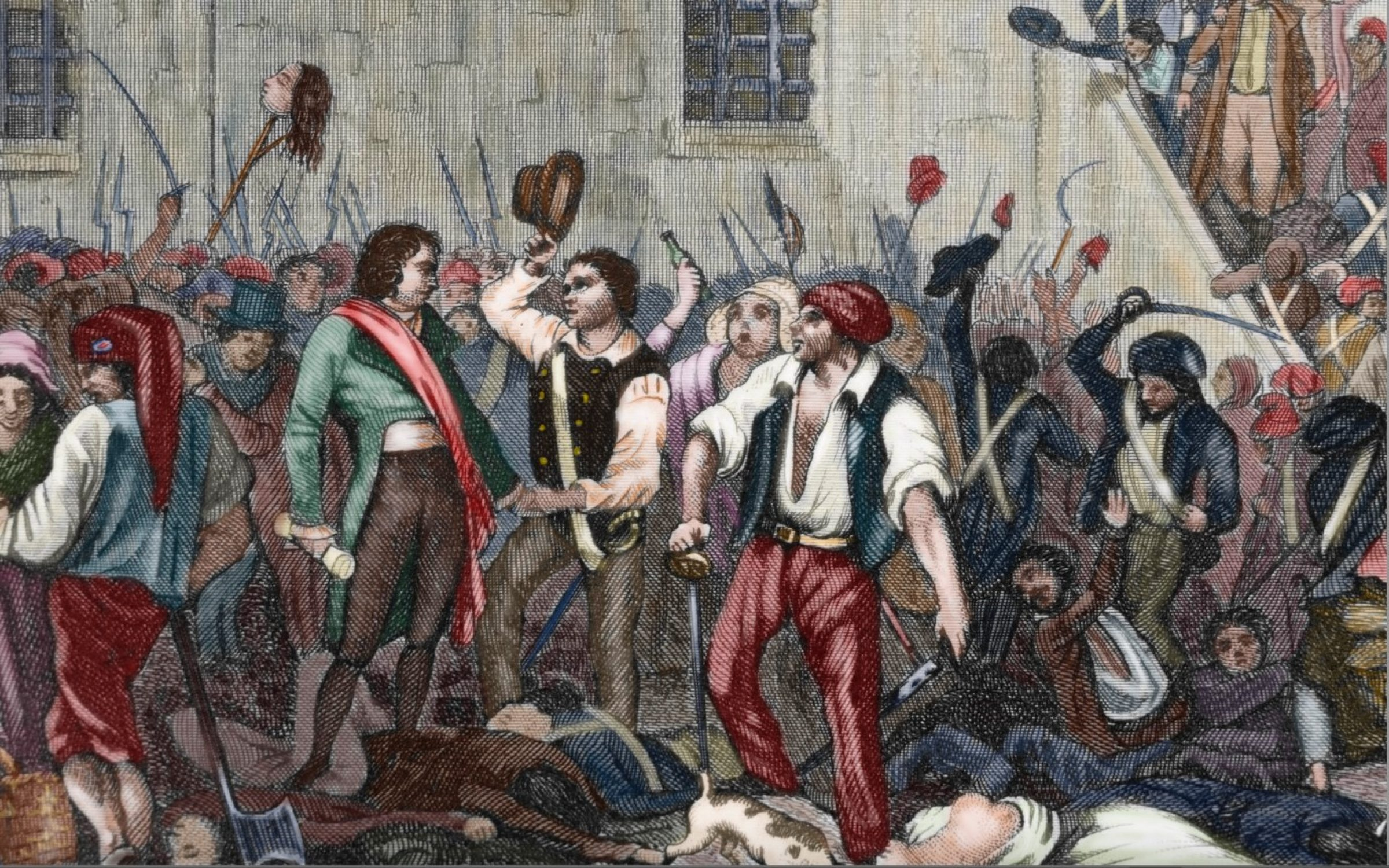 An illustration of the 'sans-culottes', radical revolutionaries who took from Carmagnola the name for their hemp-laden jackets. Credit: Prisma / UIG / Getty Images.