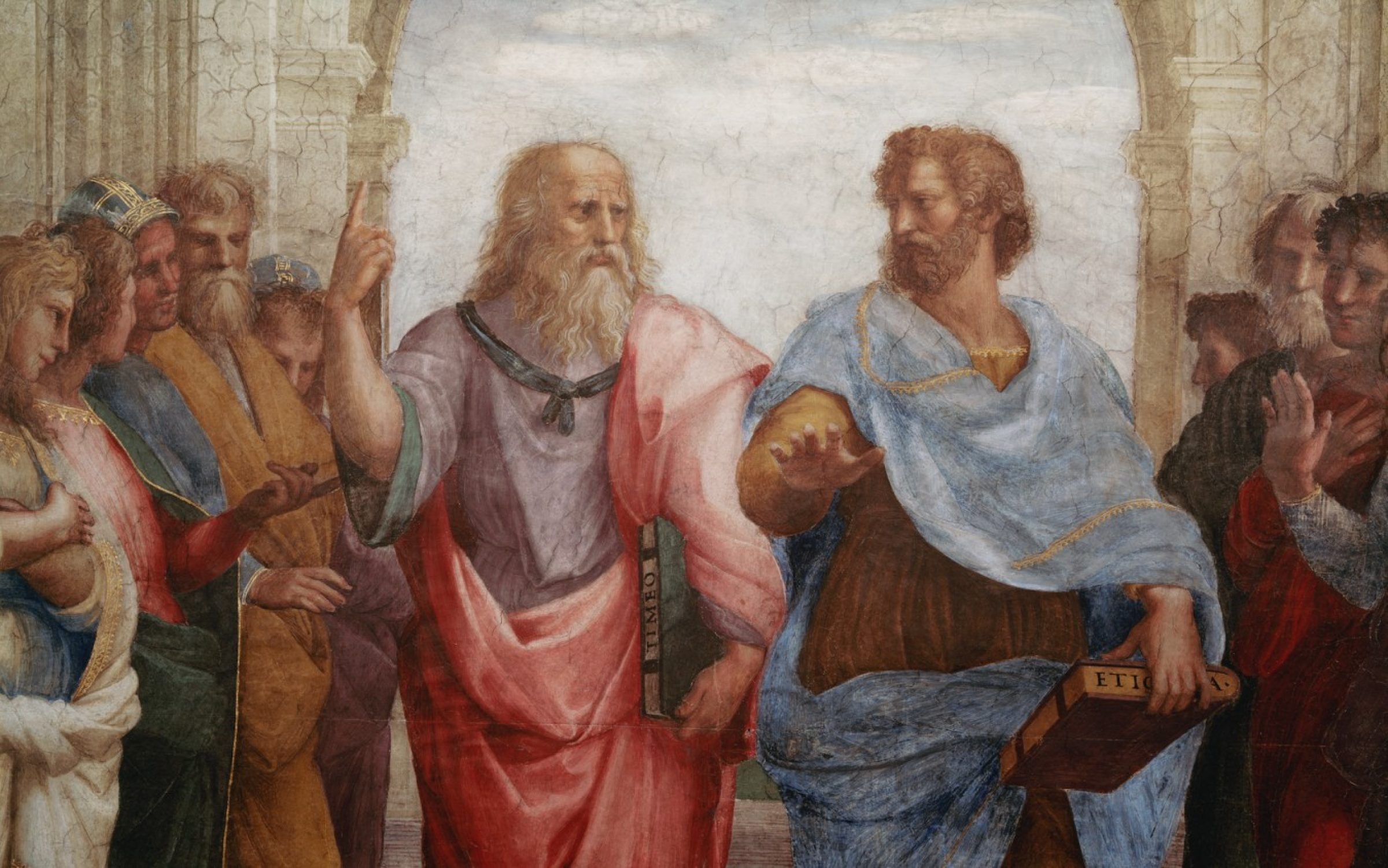 Detail of Plato and Aristotle in 'The School of Athens' by Raphael. Credit: Ted Speigel / Corbis / Getty Images.