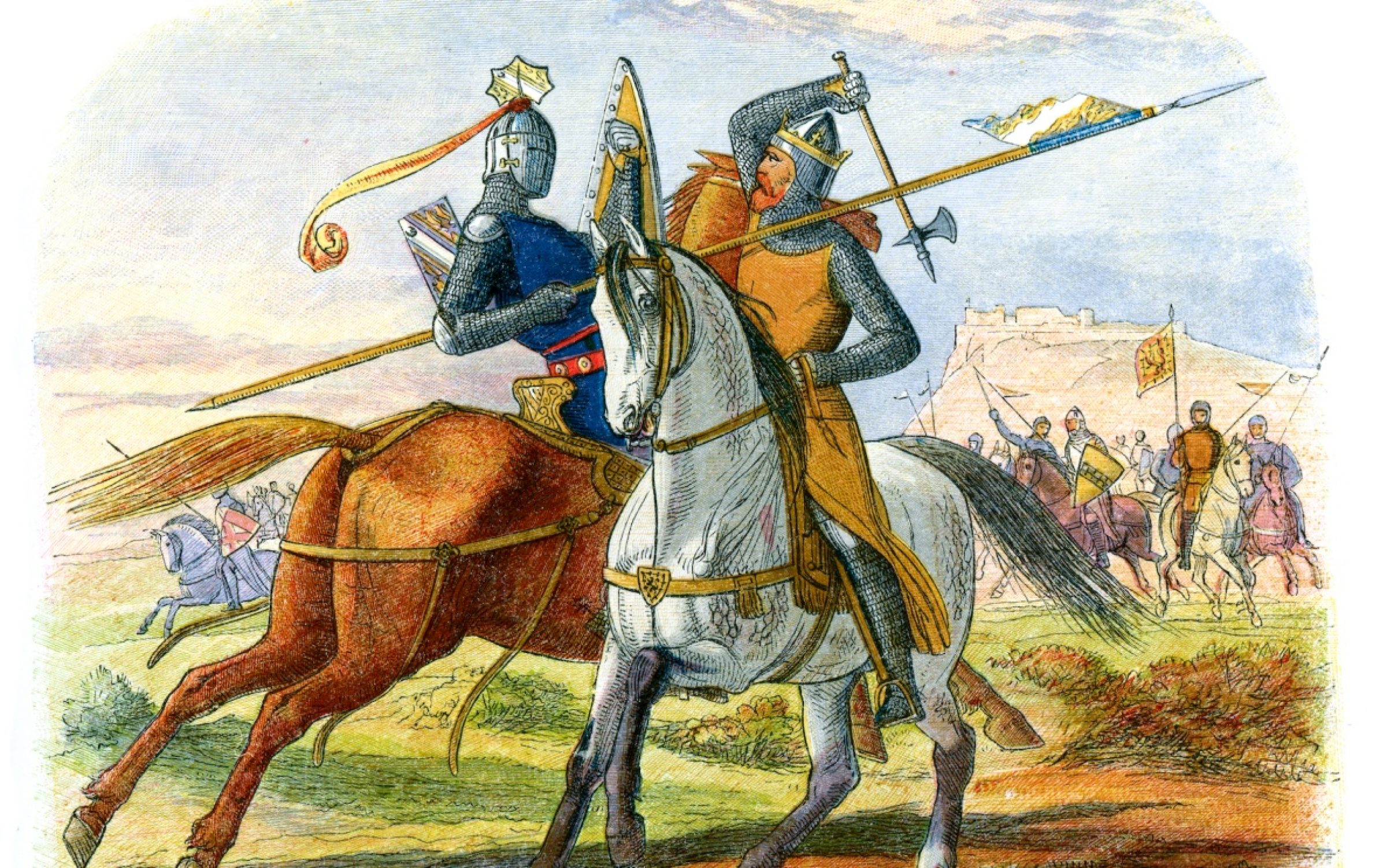 Picture of two knights on horses fight on a battlefield on the cover of a history book by R.J. Unstead