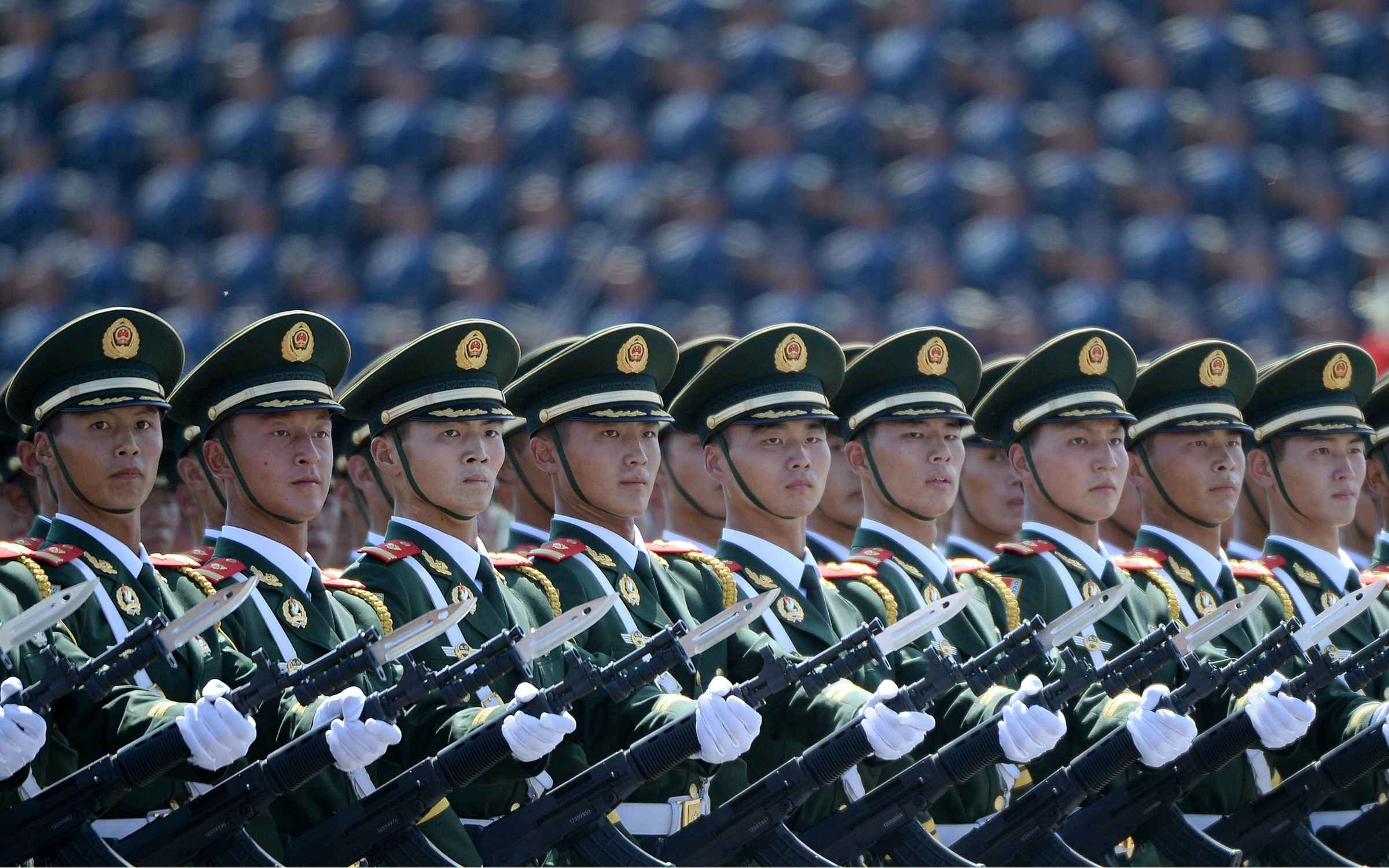 Chinese soldiers march for the 70th anniversary of victory in World War Two. Credit: Wang Zhao/AFP via Getty Images.