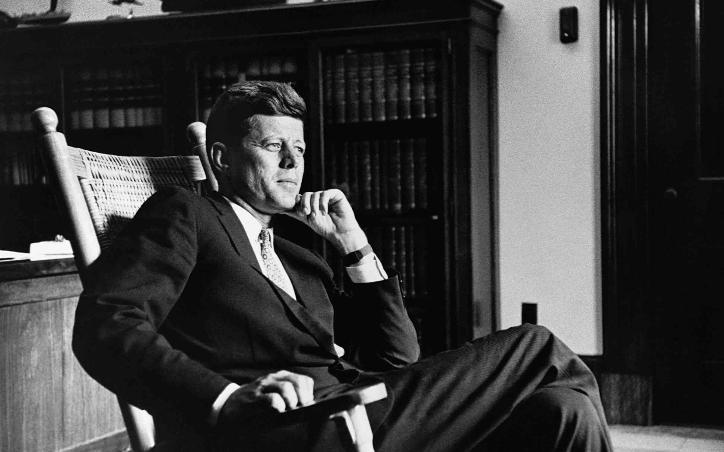 John F. Kennedy sitting in his signature rocking chair in the Oval Office. Creidt: © CORBIS/Corbis via Getty Images.